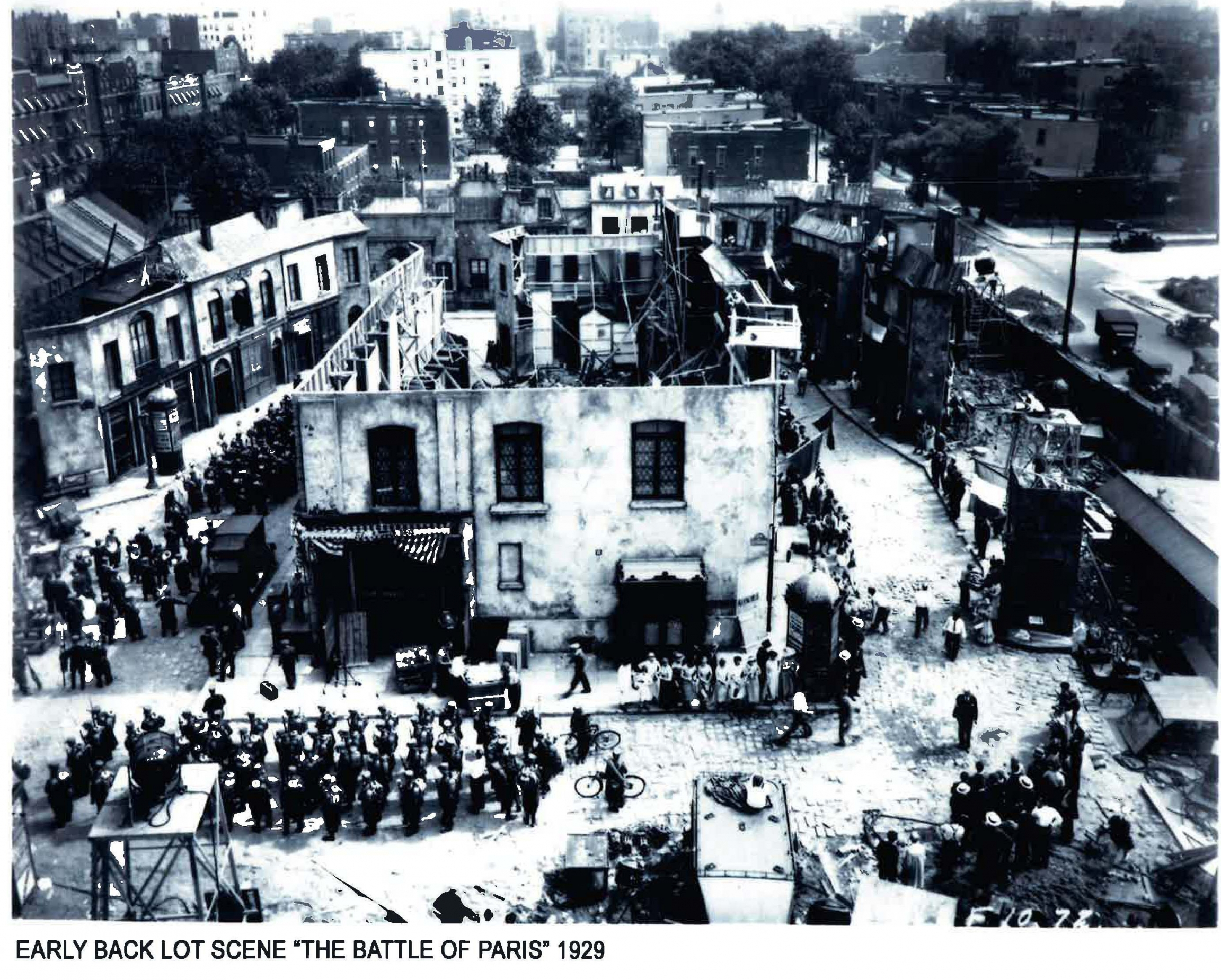 """Paramount Pictures Astoria early backlot scene: """"The Battle of Paris"""", 1929."""