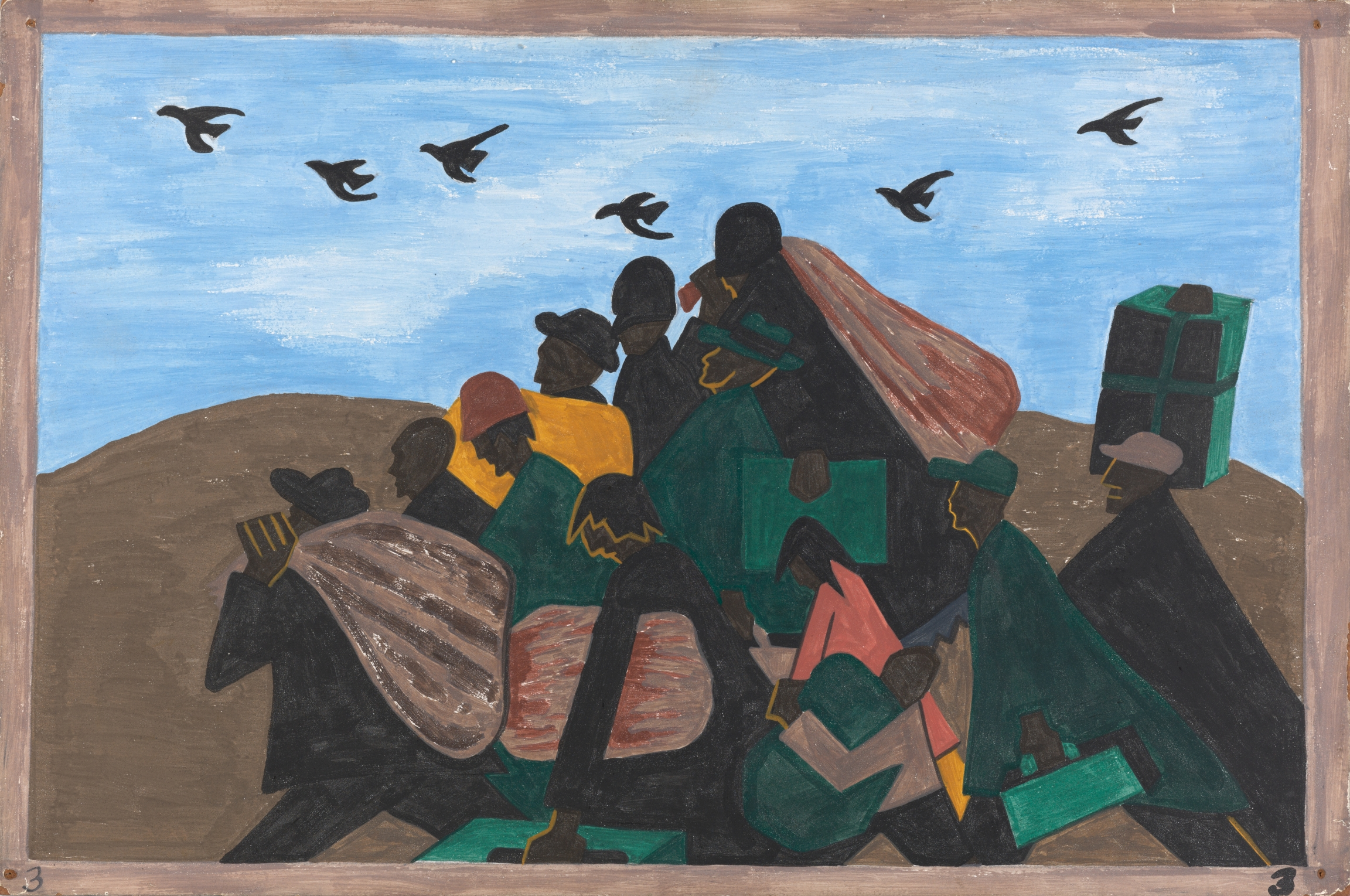 """Jacob Lawrence, """"The Migration Series, Panel no. 3: From every southern town migrants left by the hundreds to travel north.,"""" 1940–41. Casein tempera on hardboard, 12 x 18 in."""