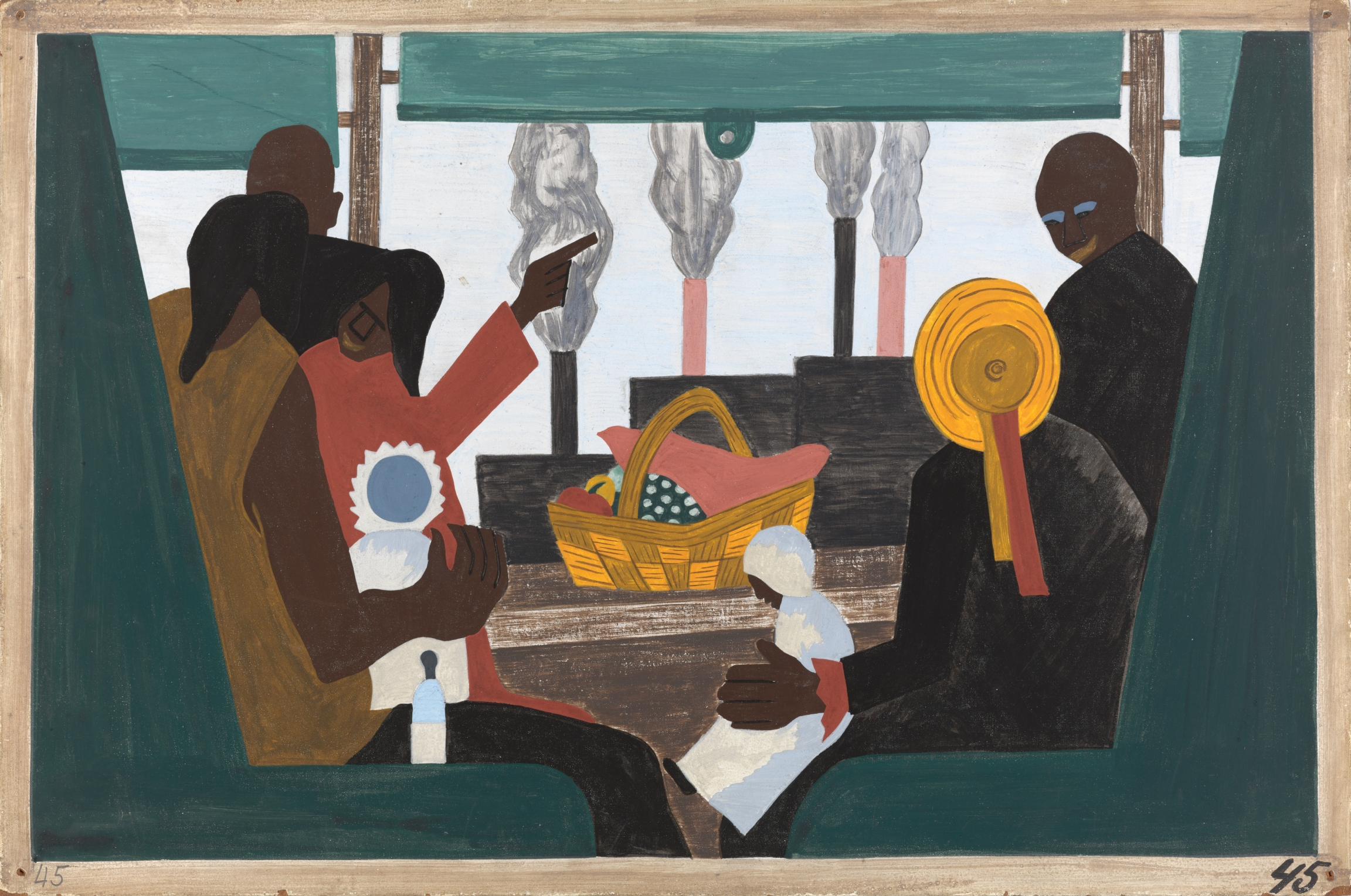 """Jacob Lawrence, """"The Migration Series, Panel no. 45: The migrants arrived in Pittsburgh, one of the great industrial centers of the North.,"""" 1940–41. Casein tempera on hardboard, 12 x 18 in."""