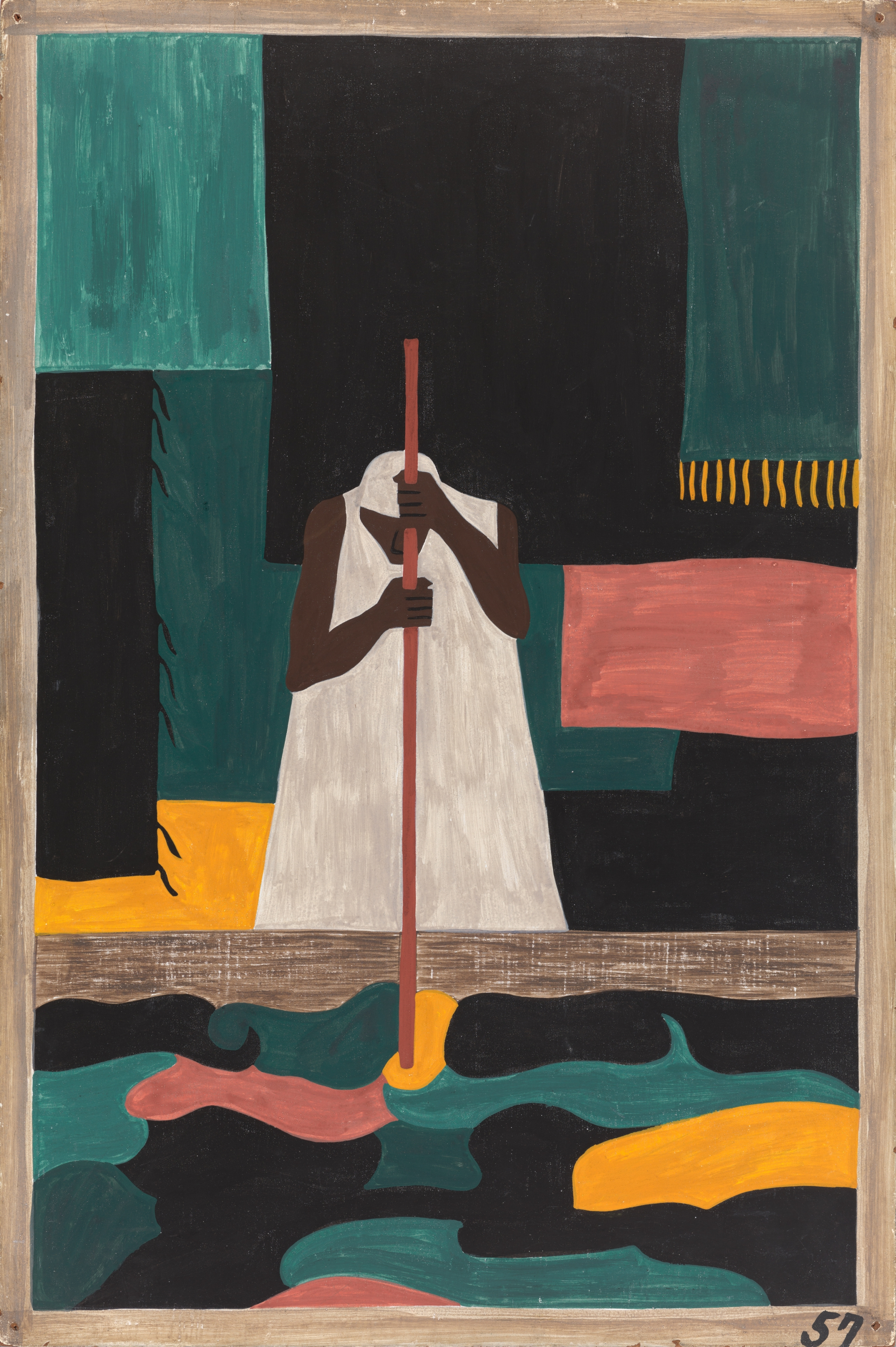 """Jacob Lawrence, """"The Migration Series, Panel no. 57: The female workers were the last to arrive north.,"""" 1940–41. Casein tempera on hardboard, 12 x 18 in."""