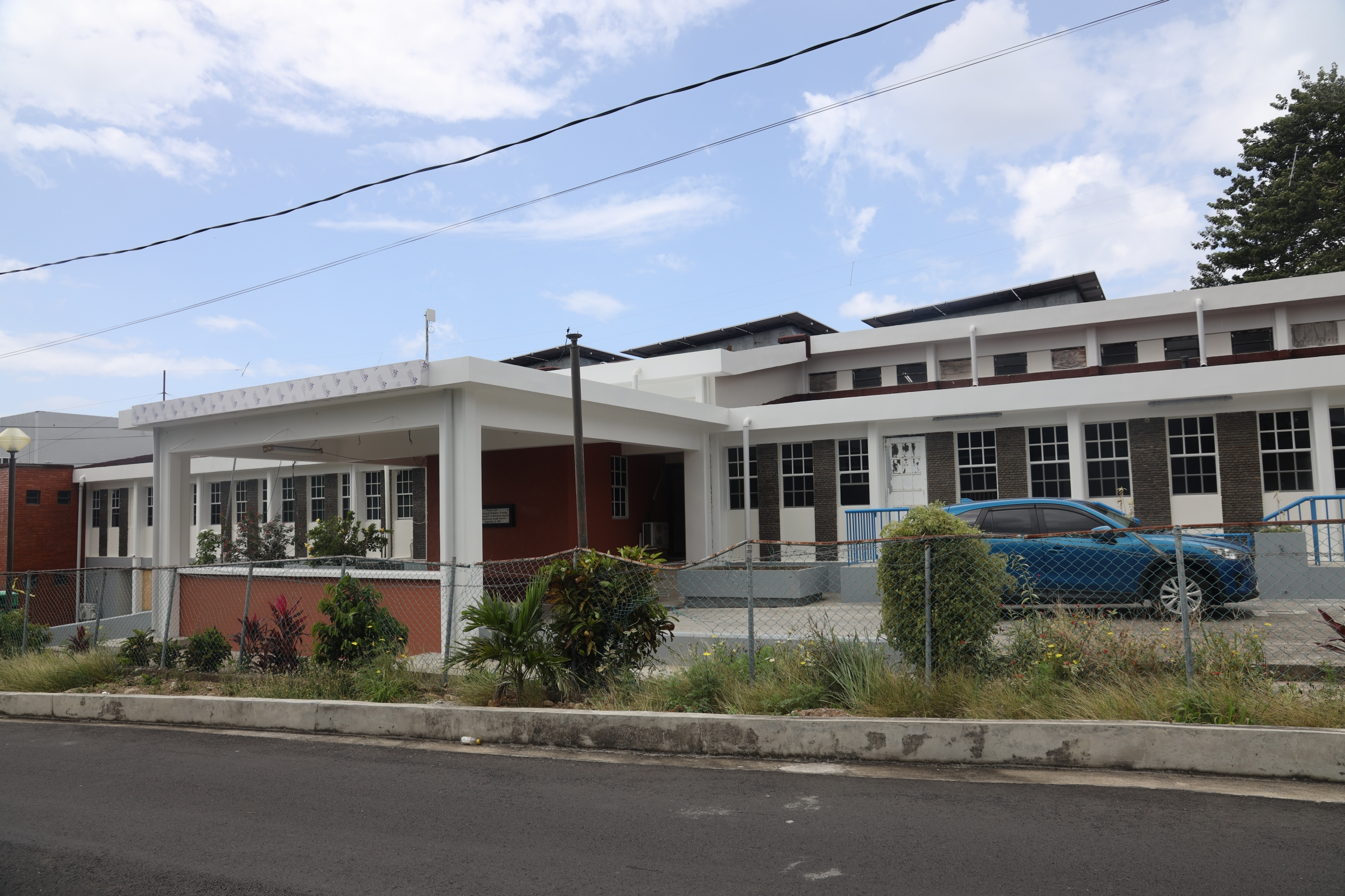 A hospital in Portsmouth, Dominica, newly fitted with solar panels to keep it running when the electrical grid goes down.