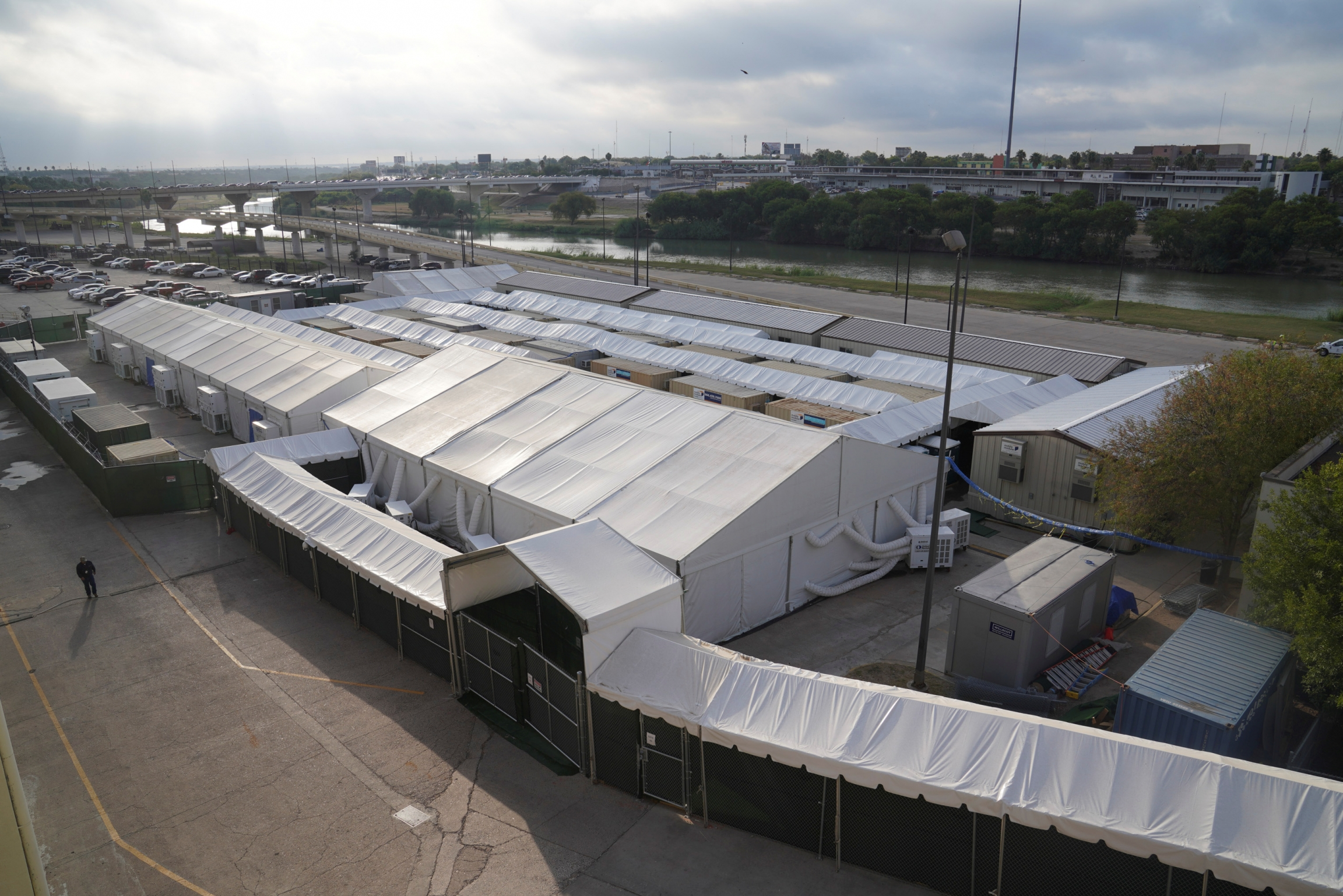 Soft-sided immigration court tents as seen in Laredo, Texas, October 9, 2019.