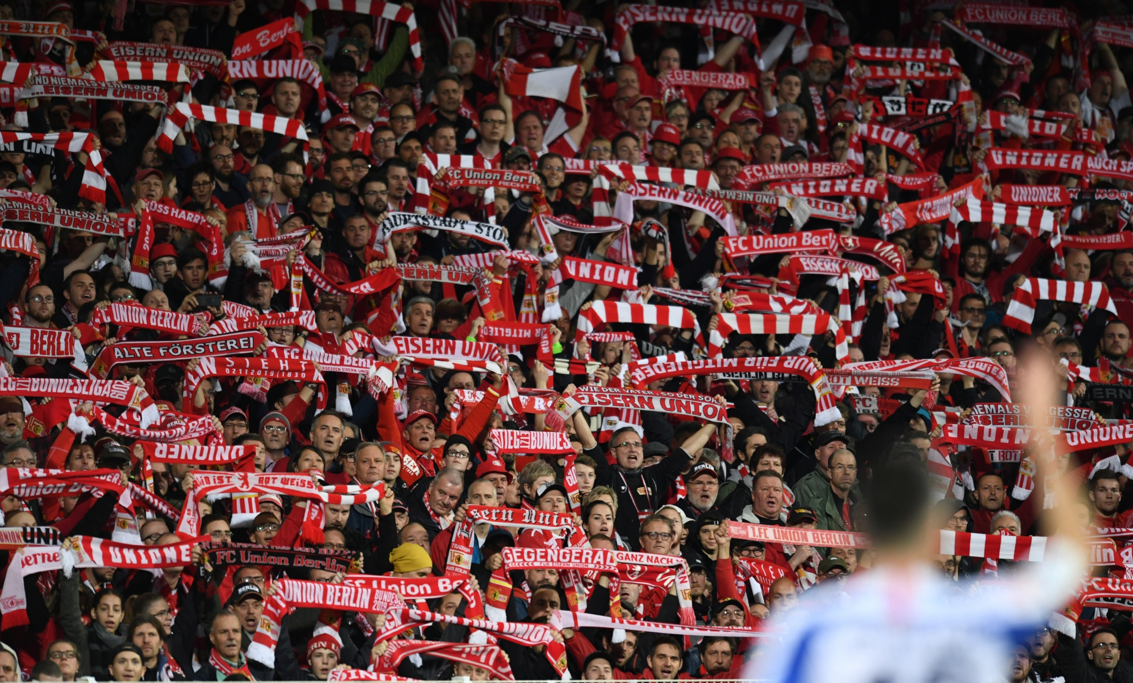 1. FCUnionBerlin fans hold up their scarves during the match on Nov. 2, 2019, Berlin, Germany.