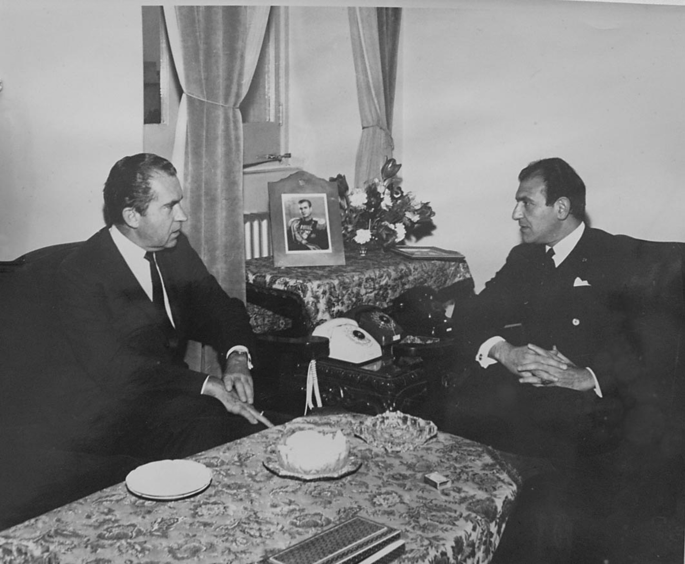 Ambassador Ardeshir Zahedi with President Richard Nixon in Tehran, 1969.