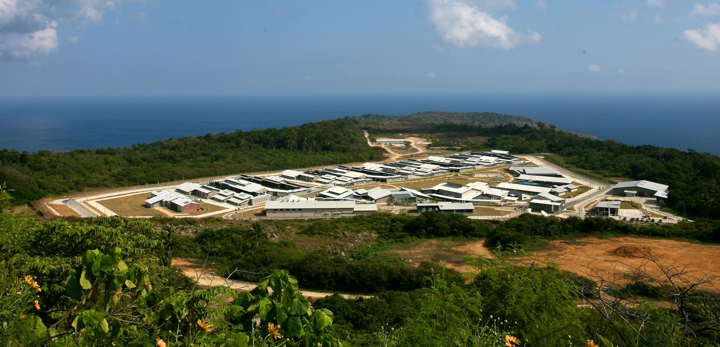An aerial view of a detention center