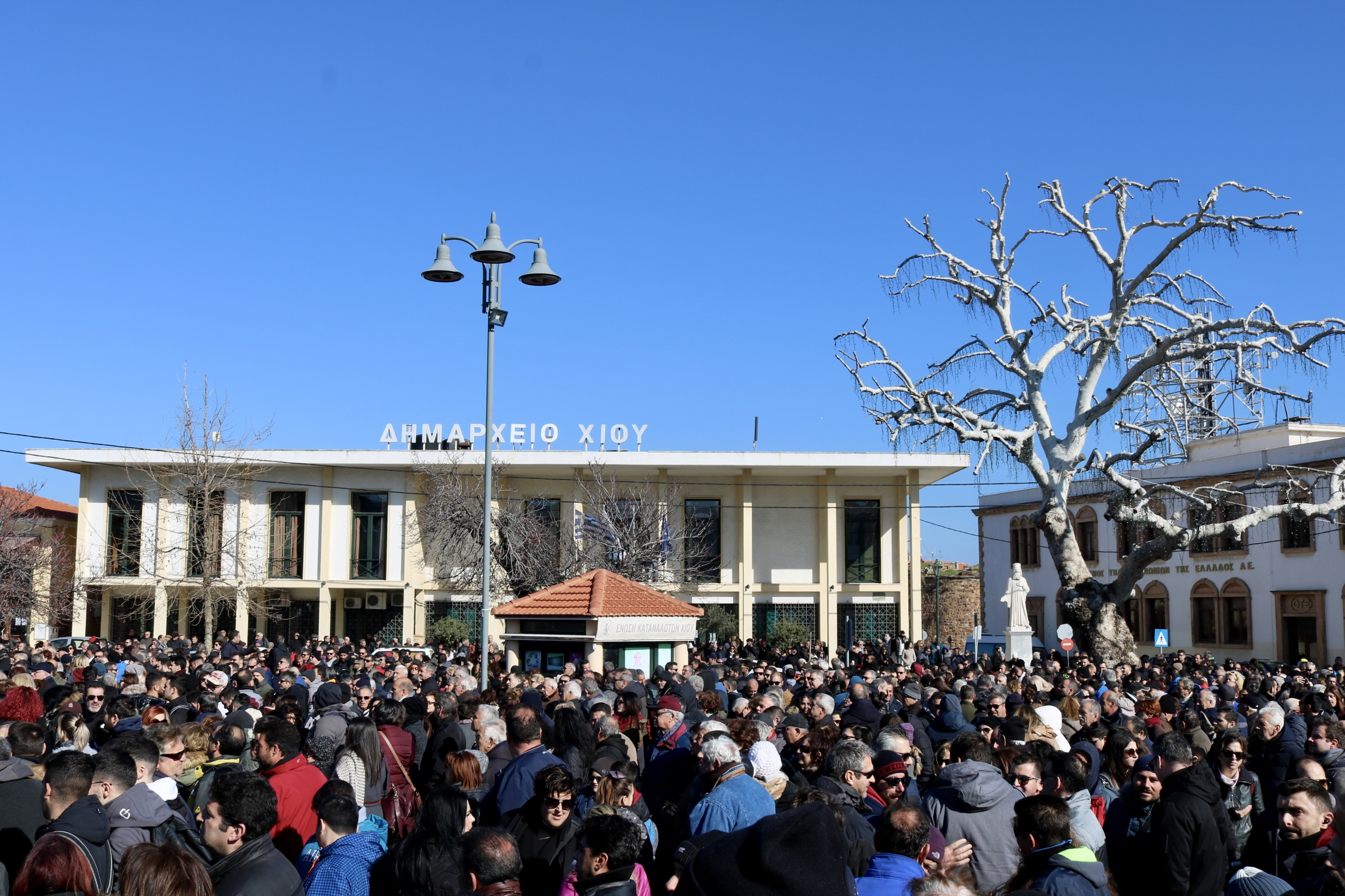 Residents of Chios gather in the town square on on Jan. 22, 2020 ,in protest to the planned construction of closed migrant detention camps on the island.