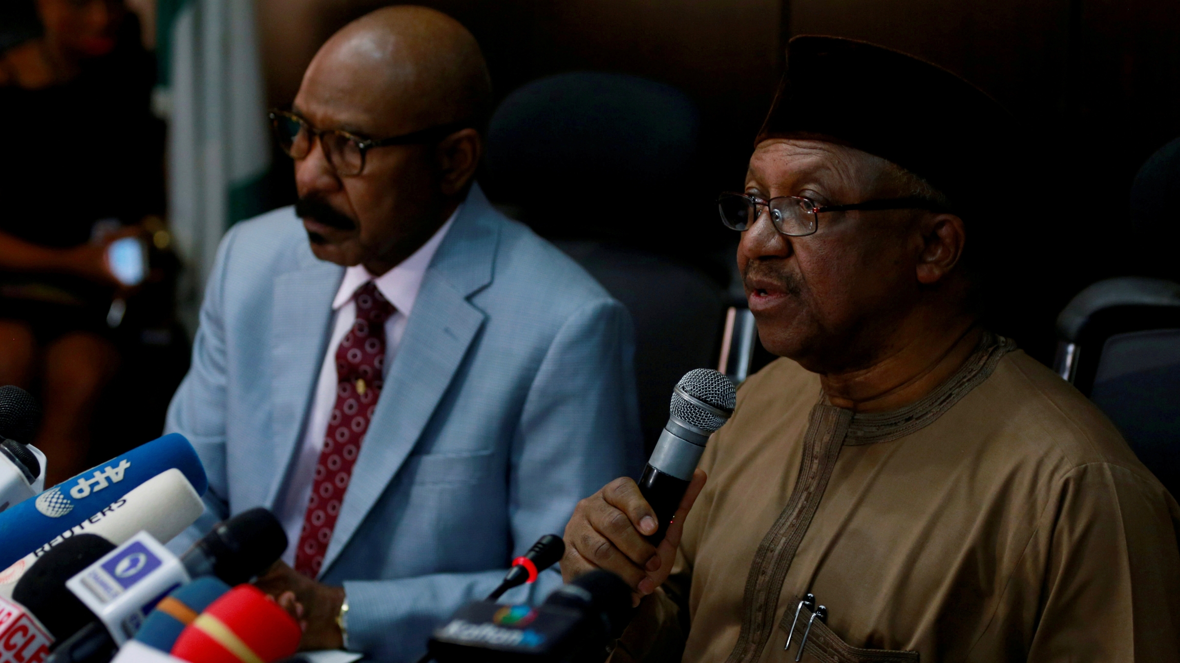 Nigeria's Minister of Health Osagie Ehanire briefs the media on the status of the novel coronavirus COVID-19 in Abuja,Nigeria, March 2, 2020.
