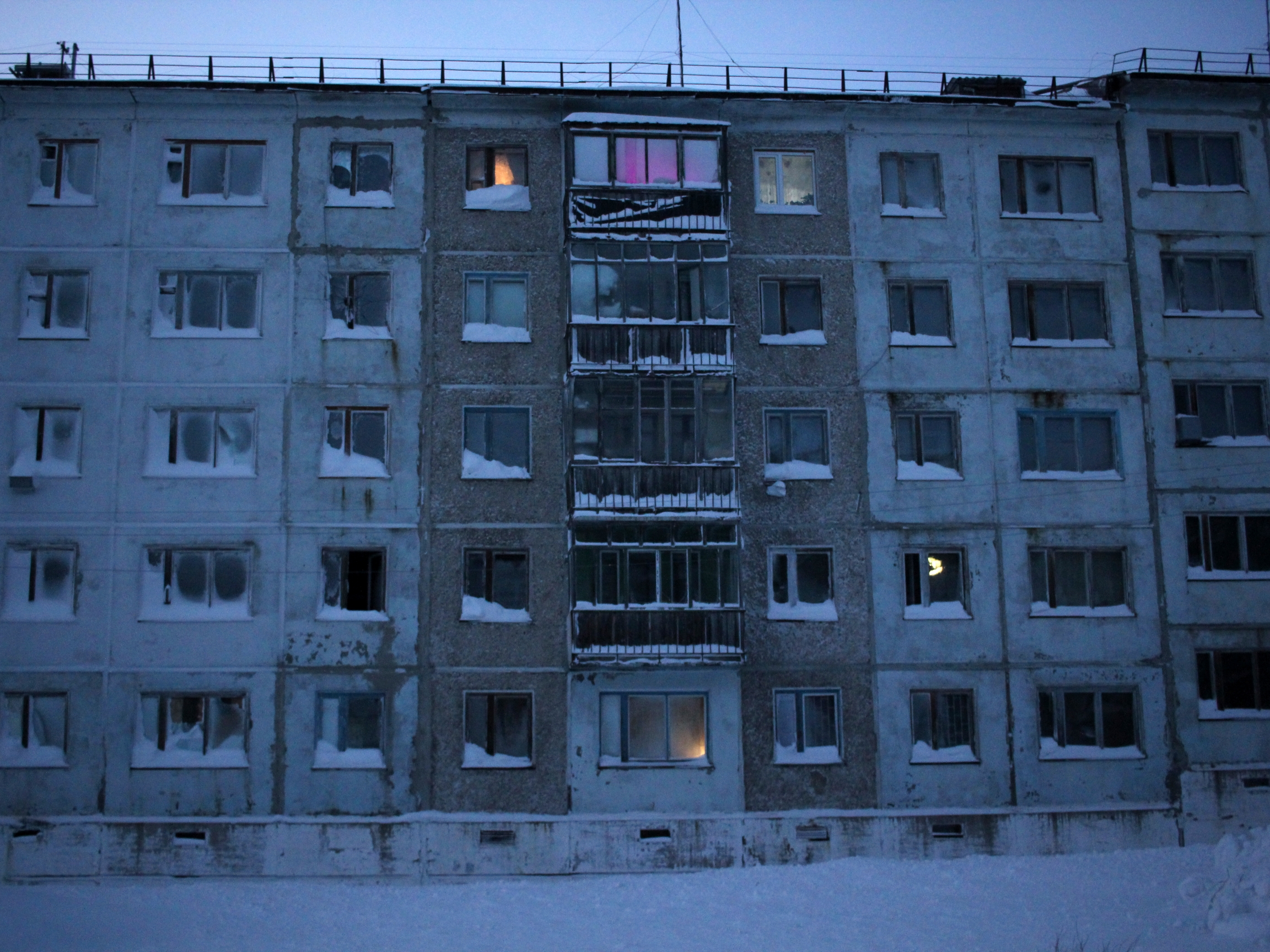 A block of Soviet-style apartments