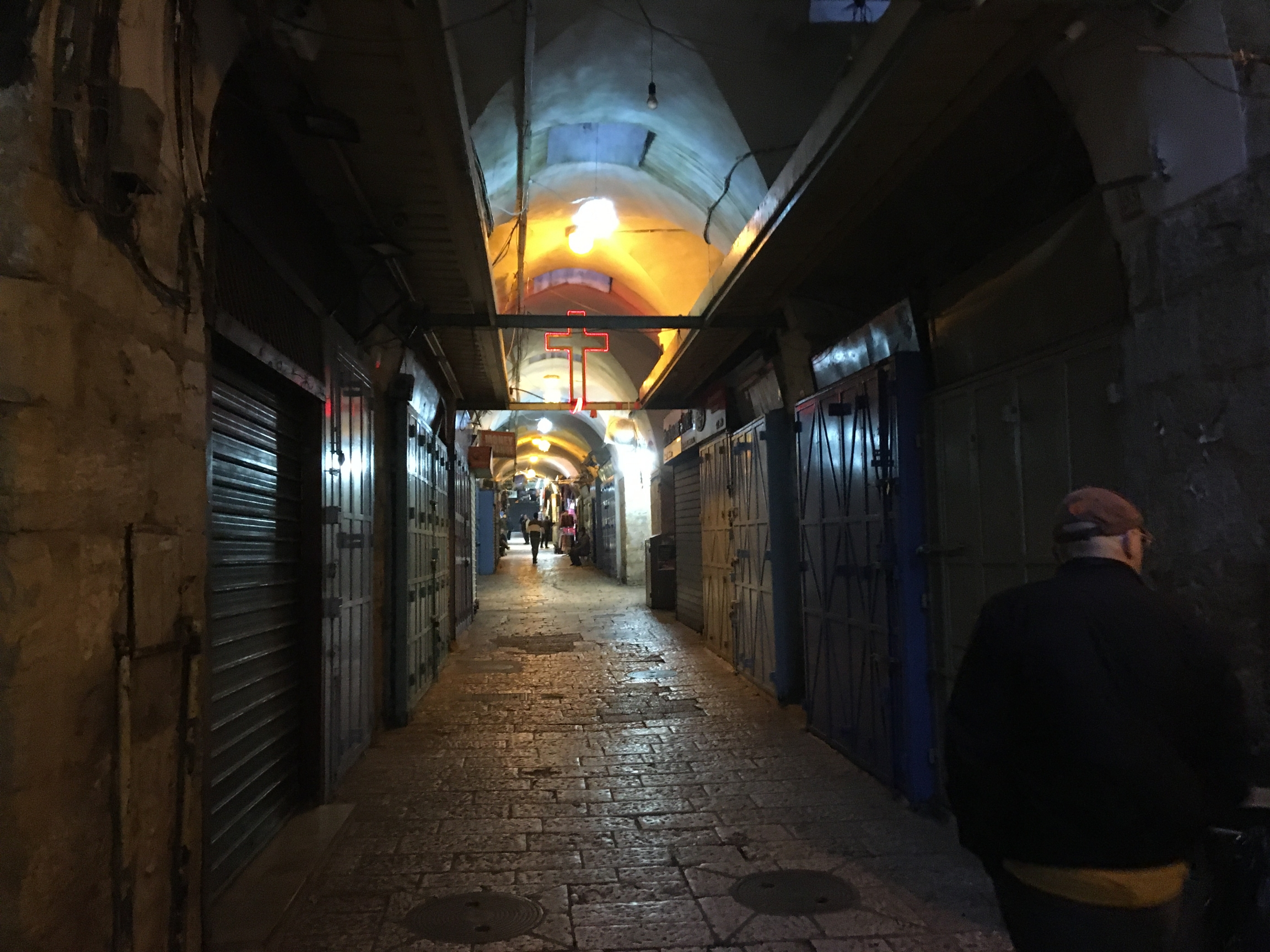 The Christian Quarter of the Old City, where shops are shuttered.