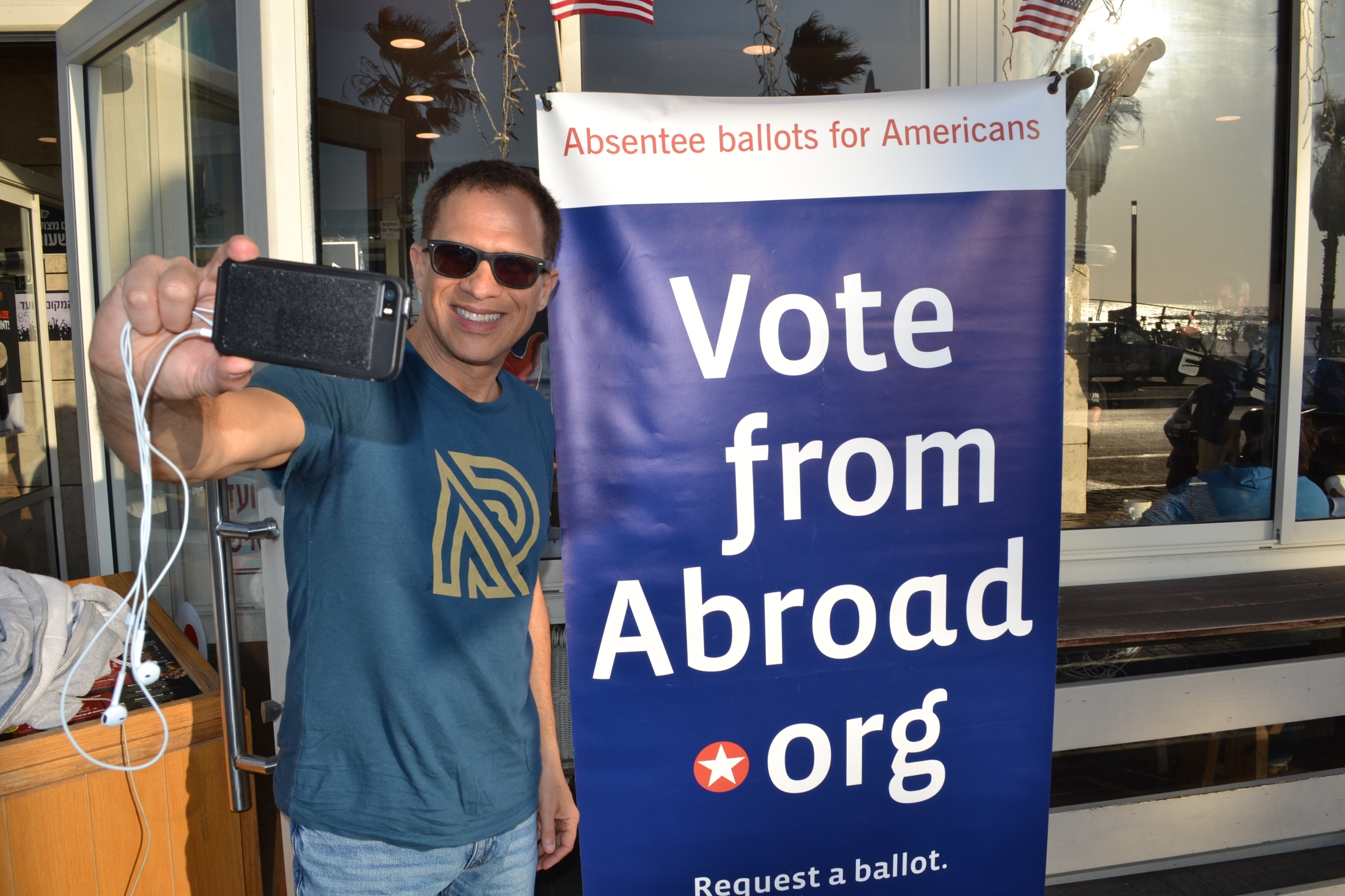 Larry Luxner takes a selfie after voting at the Democrats Abroad Israel event in Tel Aviv, Israel.