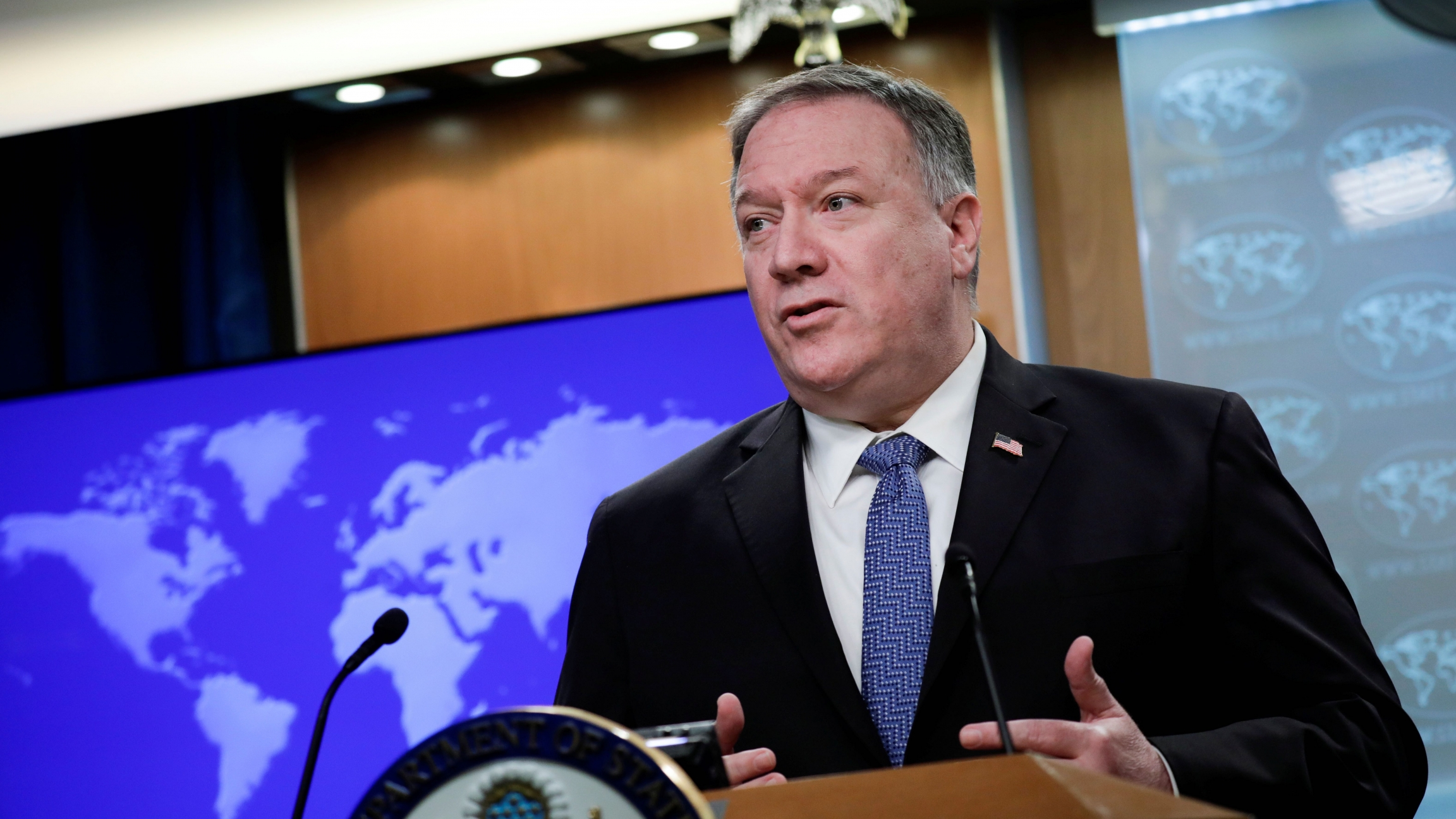 US Secretary of State MikePompeodelivers remarks to the media at the State Department in Washington,March 5, 2020.