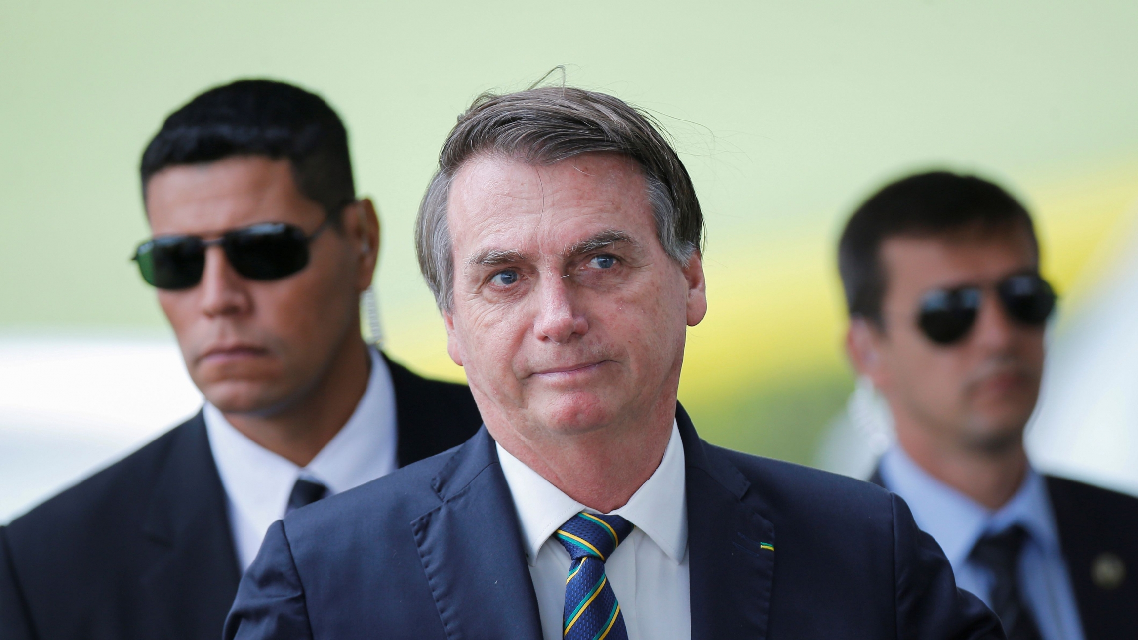 Brazil's President Jair Bolsonaro leaves Alvorada Palace, amid the coronavirus disease (COVID-19) outbreak, in Brasilia,Brazil, April 14, 2020.