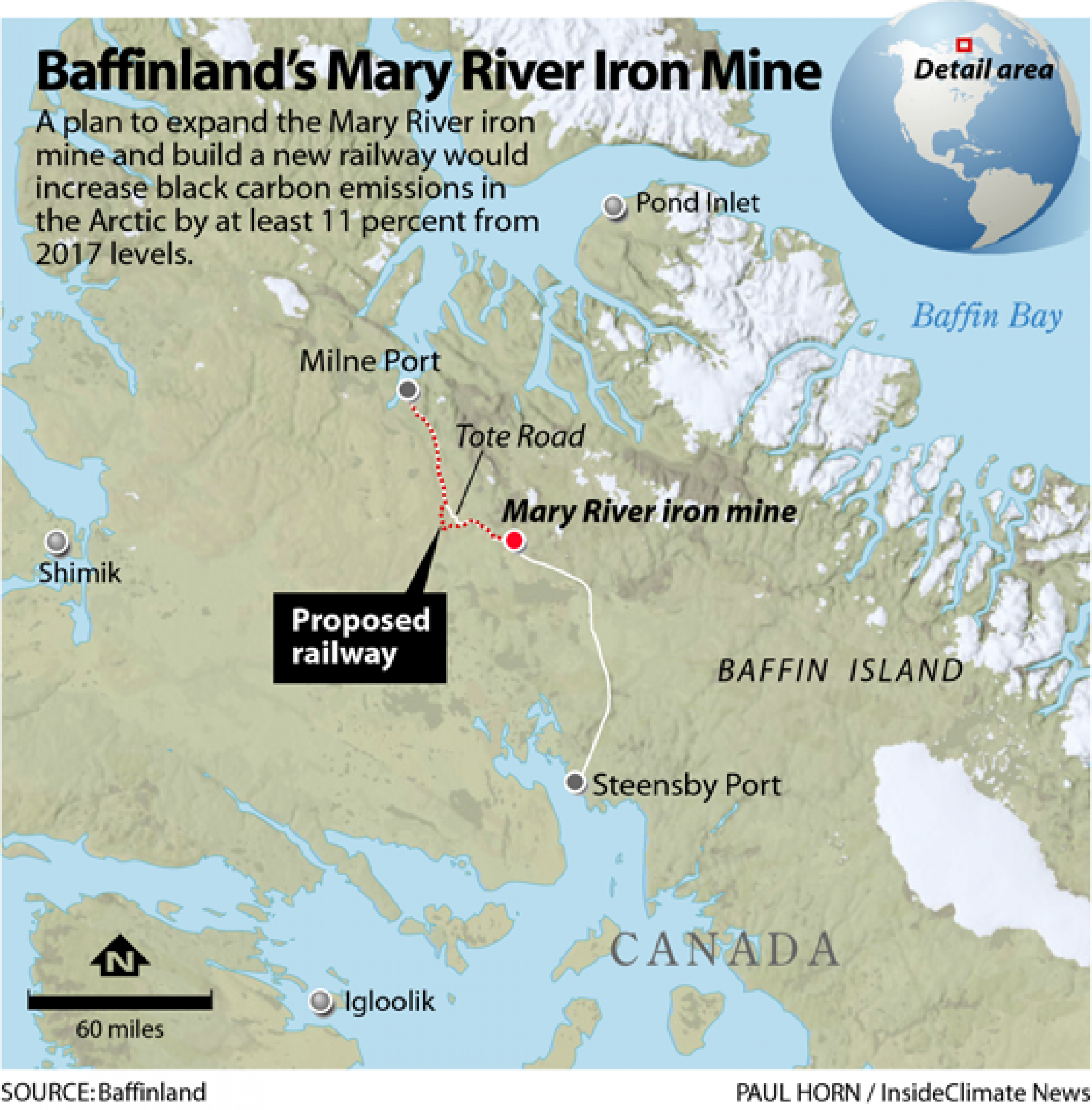 A map of Baffinland's Mary River iron mine.