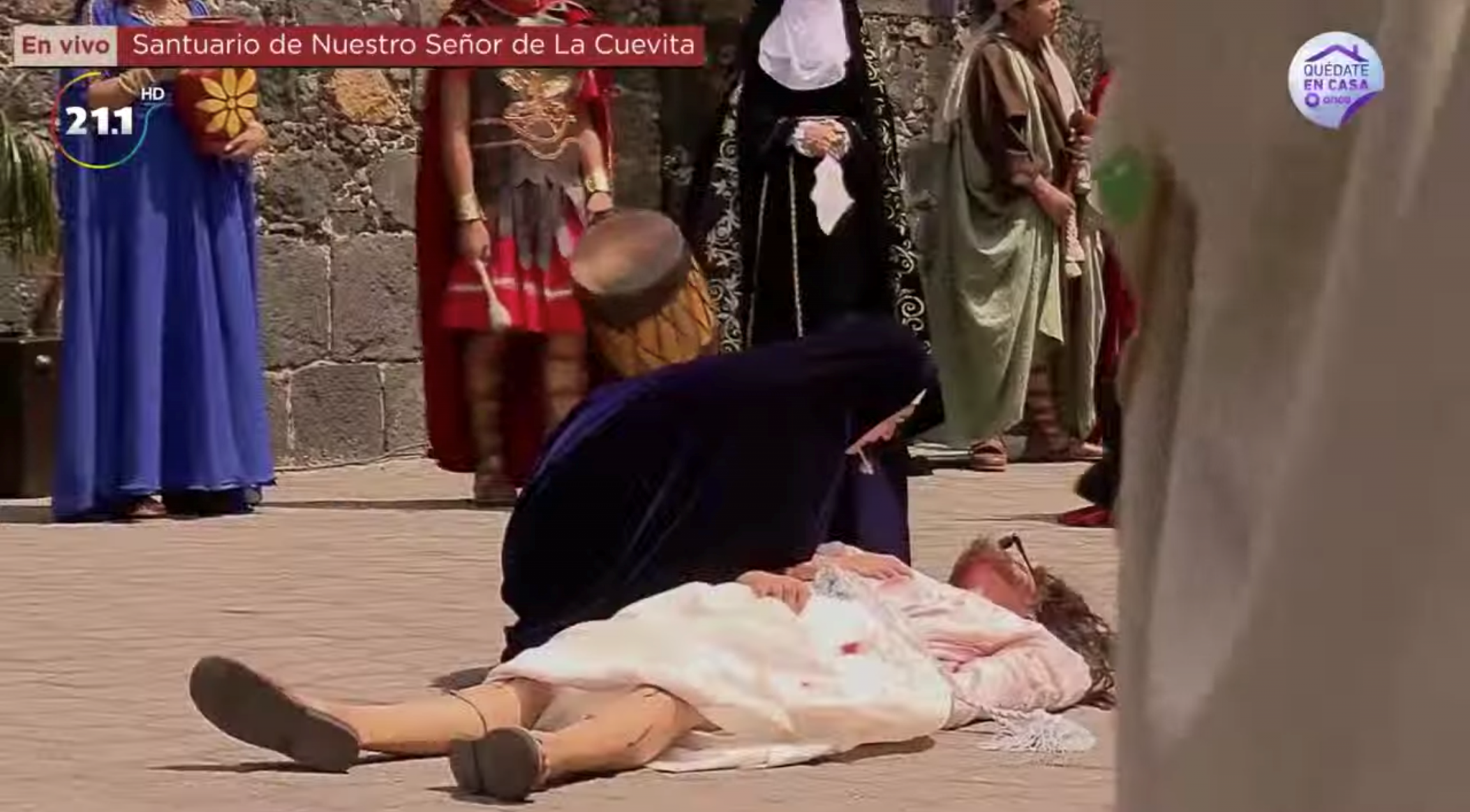 Ana Laura Ortega Jurado, 19, portrayed the Virgin Mary and Manuel Rueda, 19, portrayed Jesus in a reenactment of the Stations of the Cross in Mexico City on April 10, 2020.