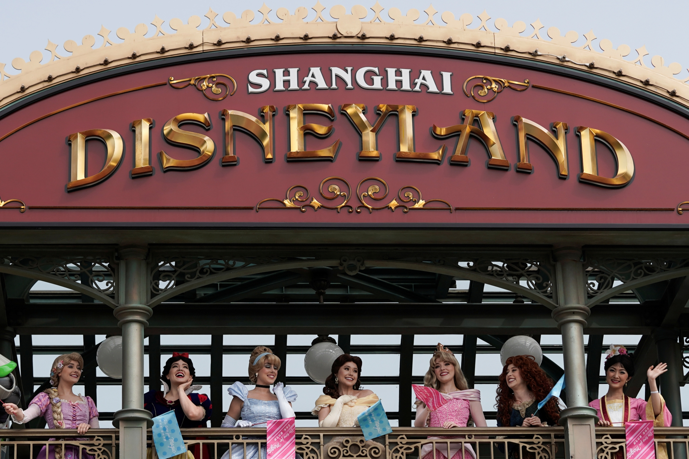 Disney characters appear on opening day at Shanghai Disneyland