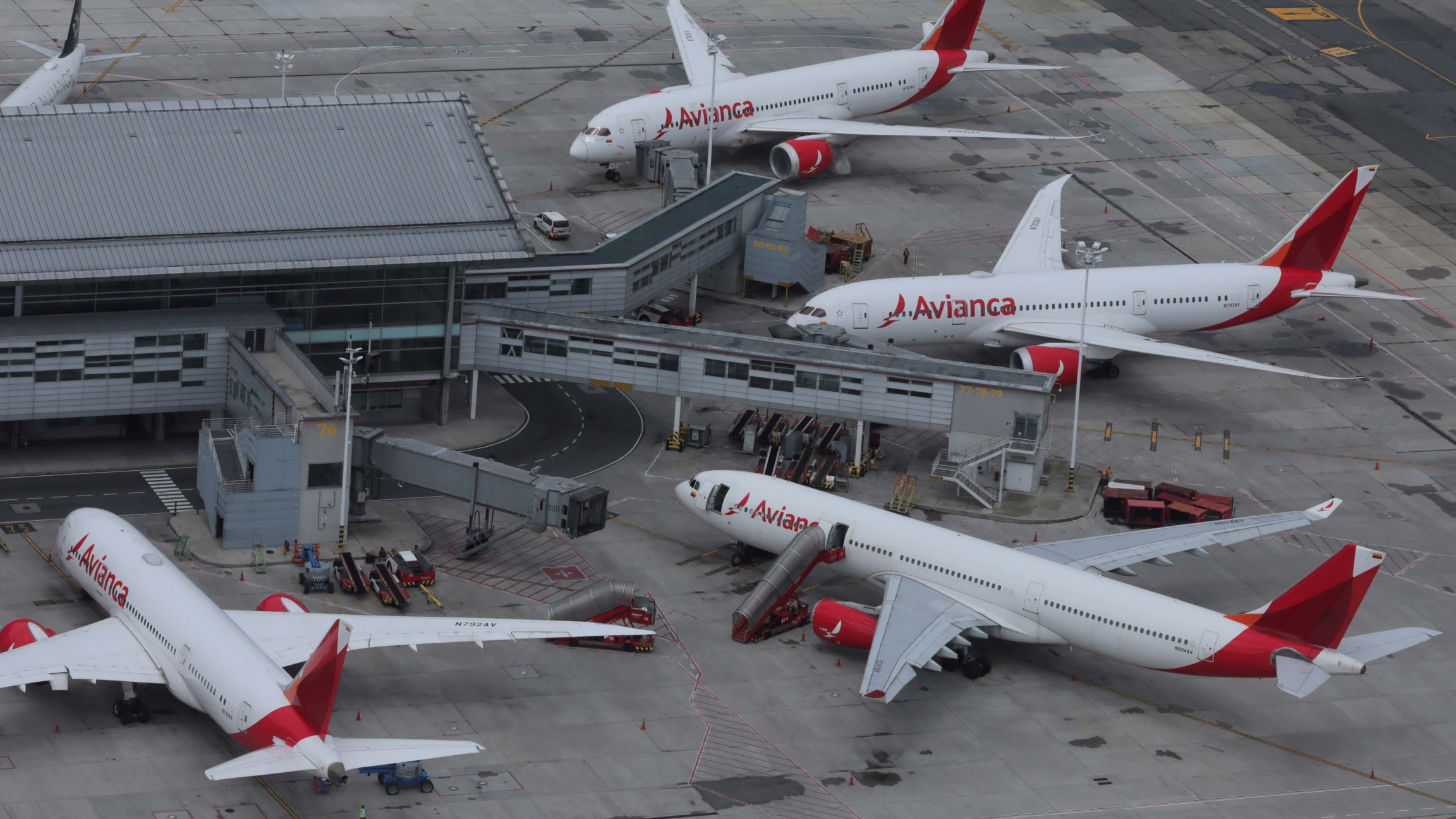 An aerial view shows Colombian airline Avianca's planes parked at El Dorado International Airport amid the coronavirus disease (COVID-19) outbreak in Bogota, Colombia, April 7, 2020.