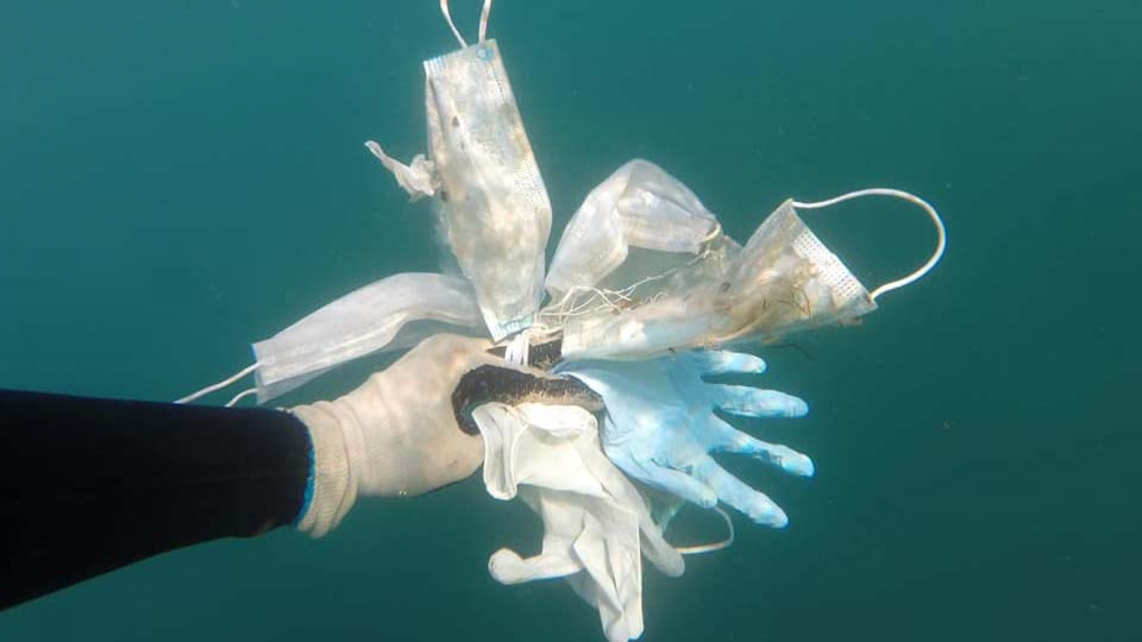 Masks and gloves found in the Mediterranean Sea by members of Opération Mer Propre, or Operation Clean Sea, in mid-May, just after France lifted some of its coronavirus lockdown restrictions.