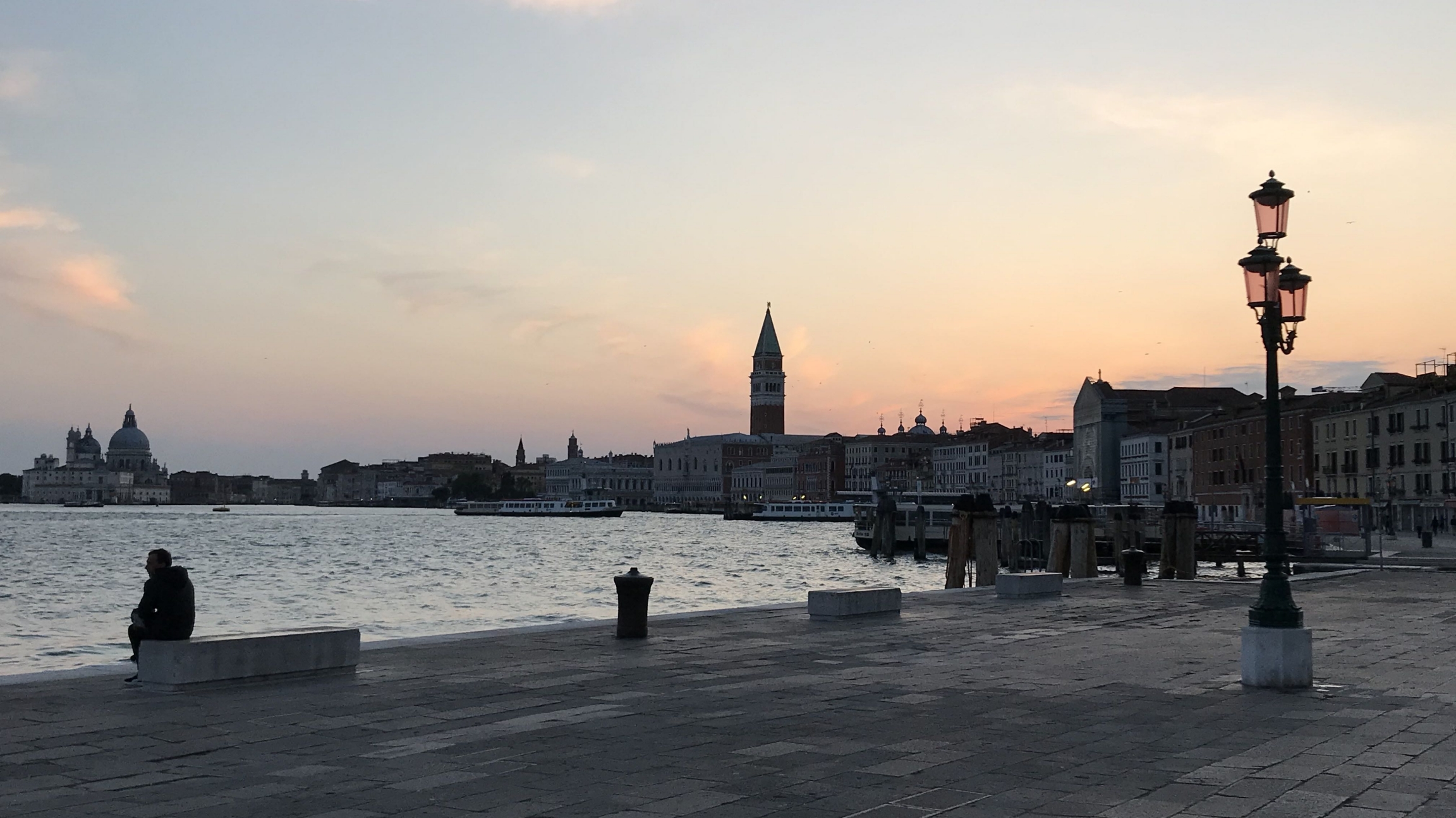 The San Marco basin in Venice appears placid as a result of the slowdown in activity with the country's lockdown in response to the coronavirus.