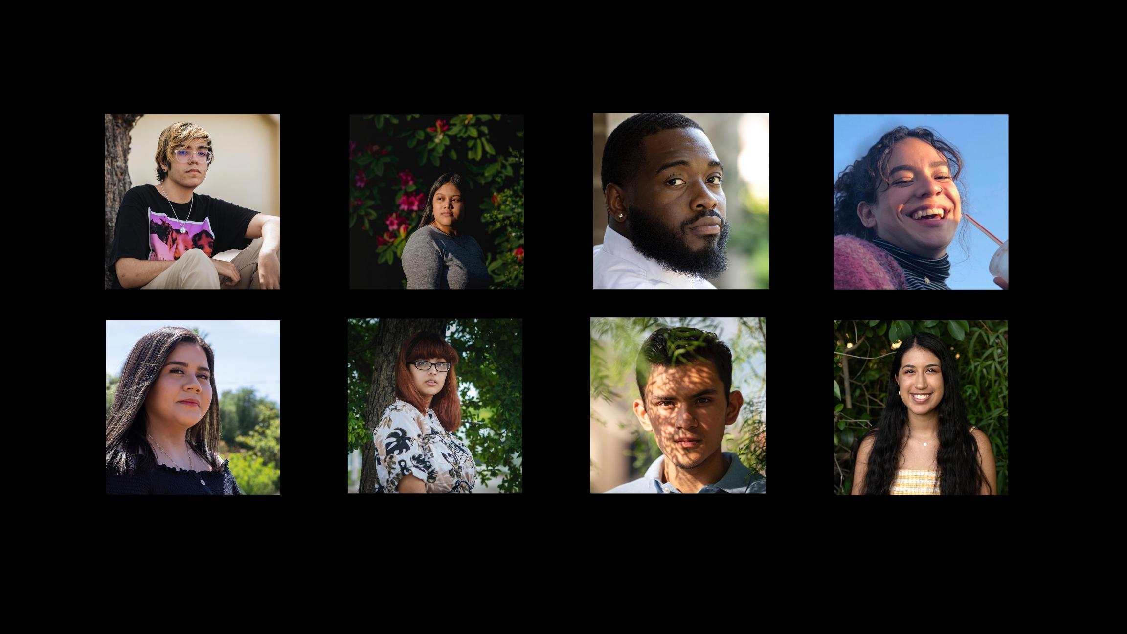 Una photo con el collage de 8 retratos de jovenes sobre un fondo negro.