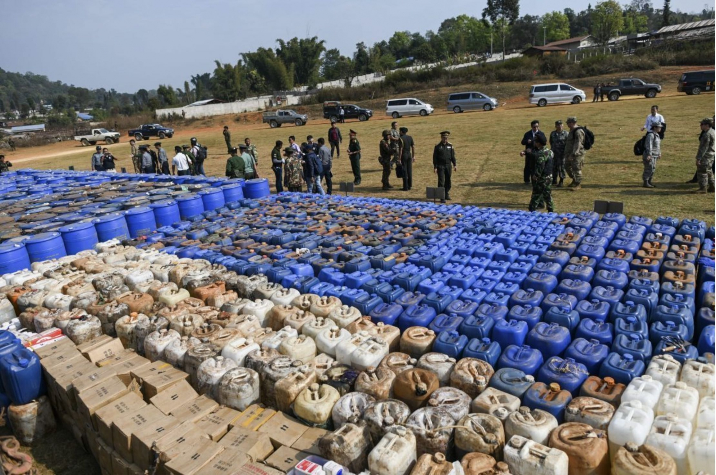 Chemicals seized during Asia's largest-ever drug bust in Myanmar.