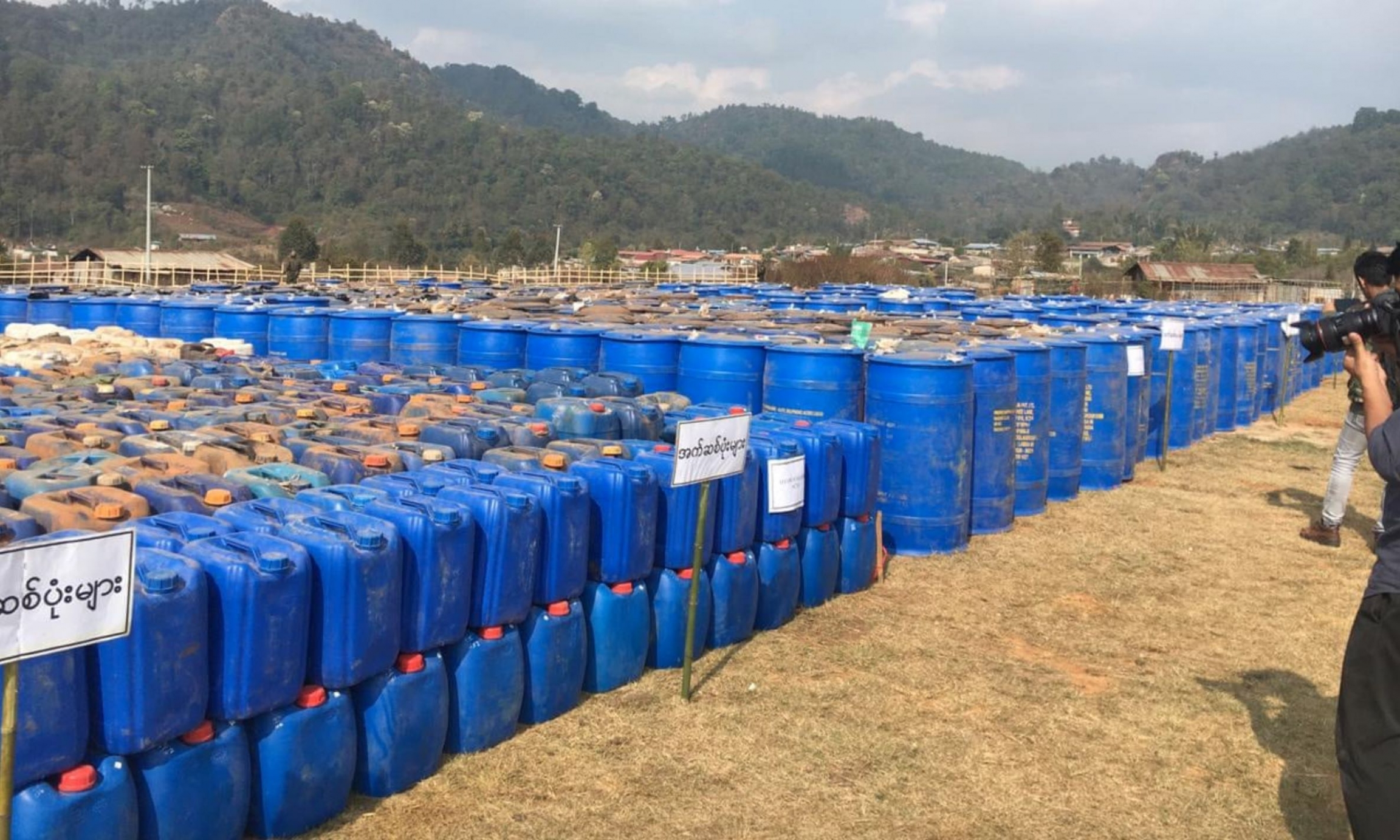 Barrels of chemicals seized from a drug lab in northern Myanmar.