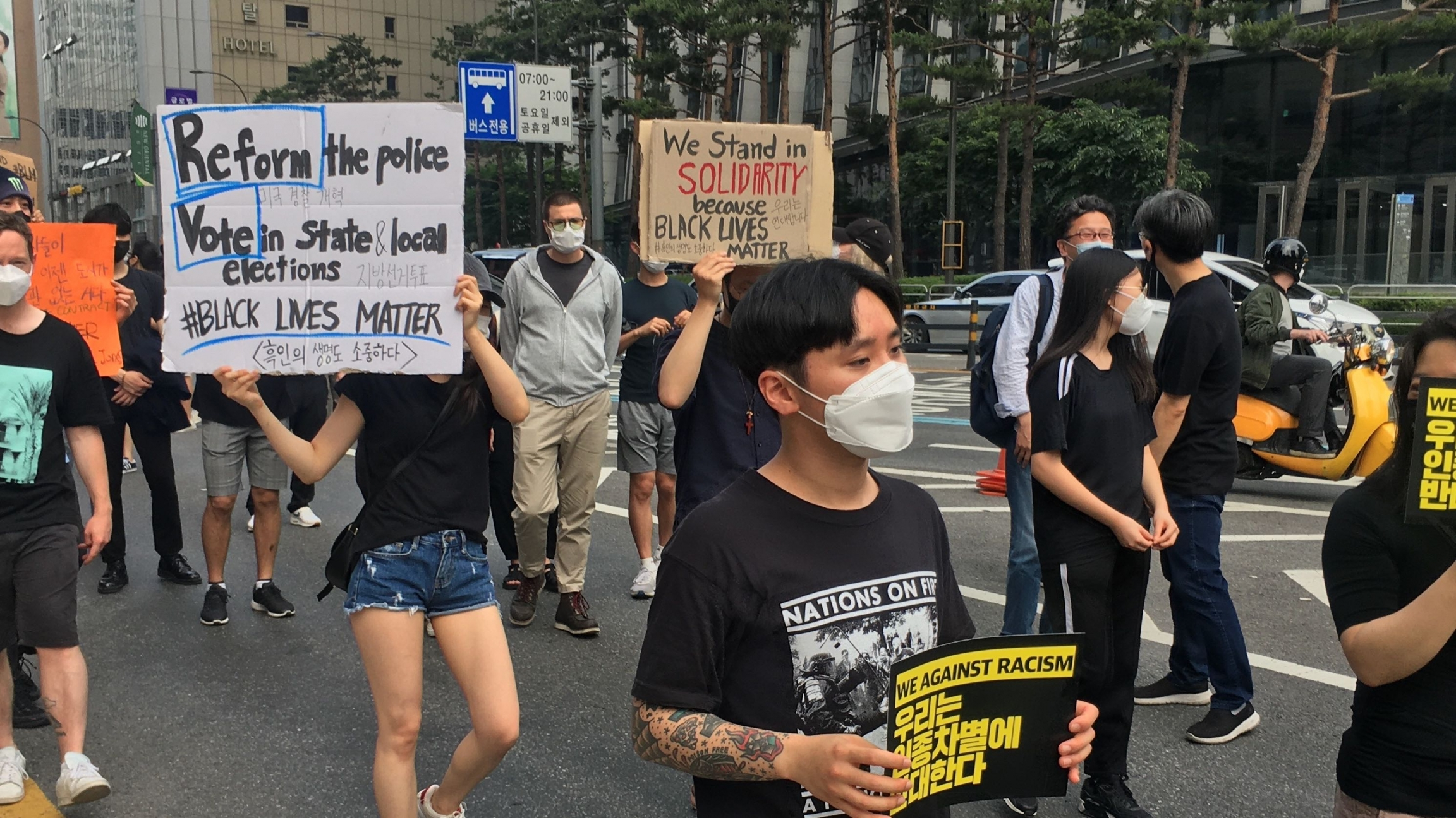 Protesters in Seoul rallied in support of the Black Lives Matter Movement on June 6,