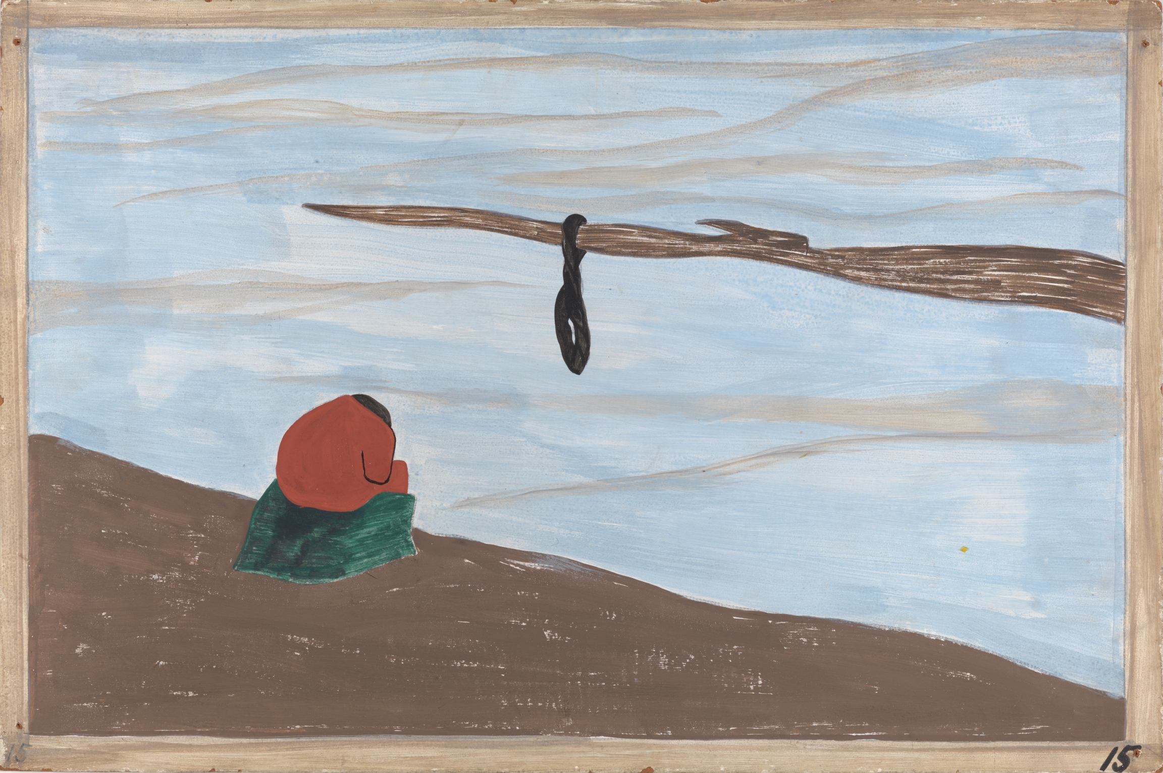 "Jacob Lawrence, ""The Migration Series, Panel no. 15: There were lynchings.,"" 1940–41. Casein tempera on hardboard, 12 x 18 in."