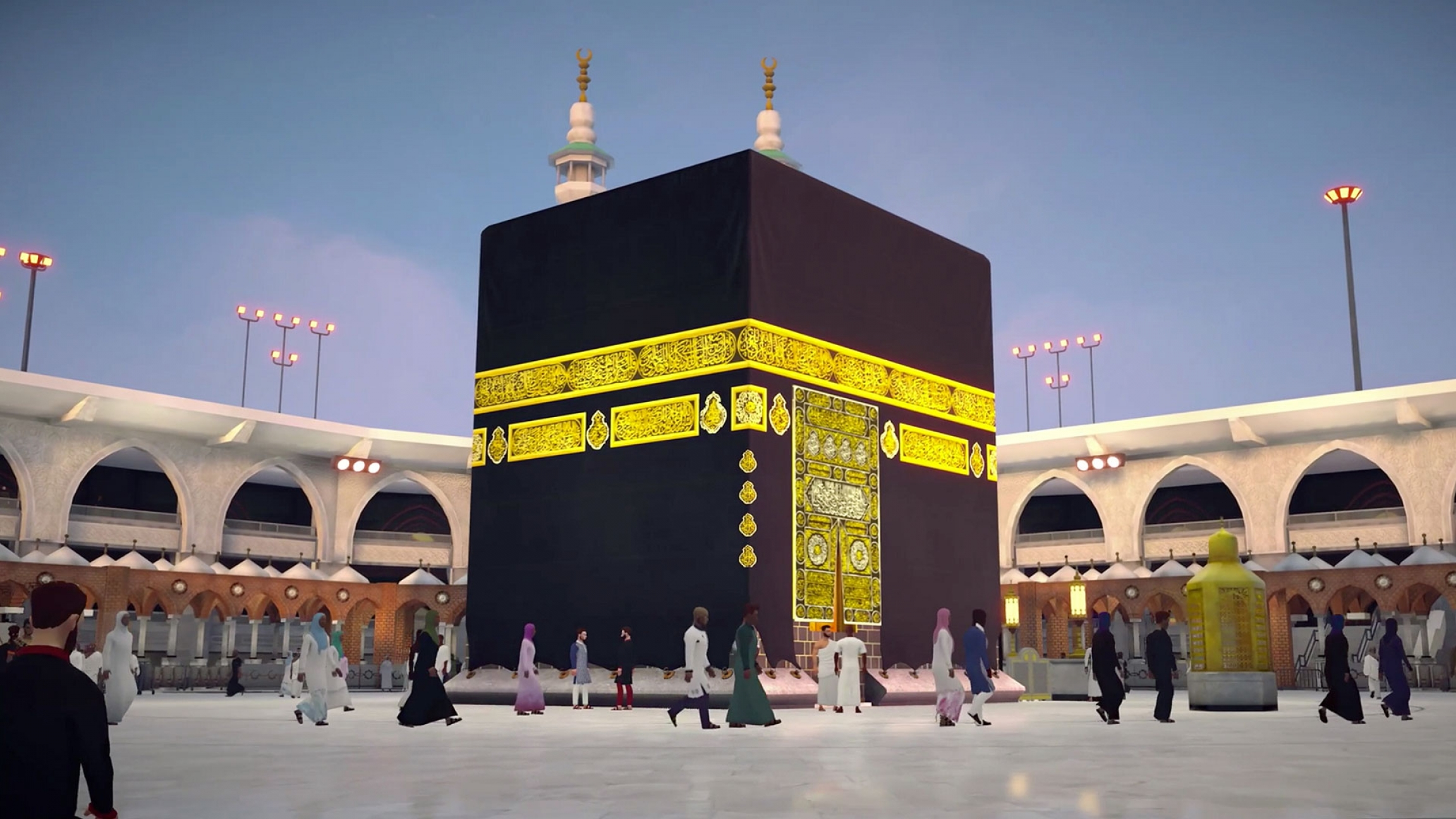 An animation of the black and gold Kaaba.