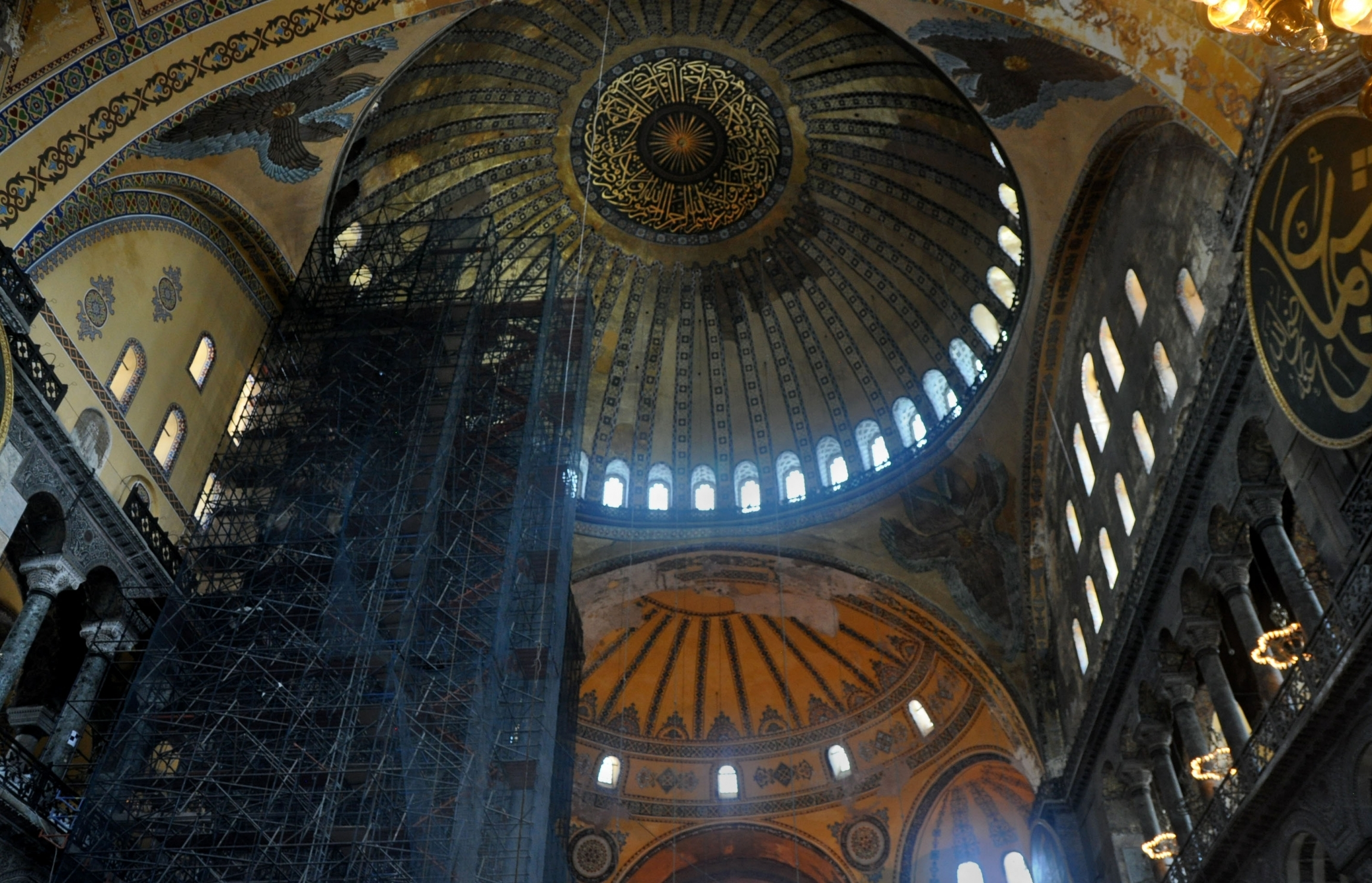 The majestic dome of the Haghia Sophia with scaffolding for repairs