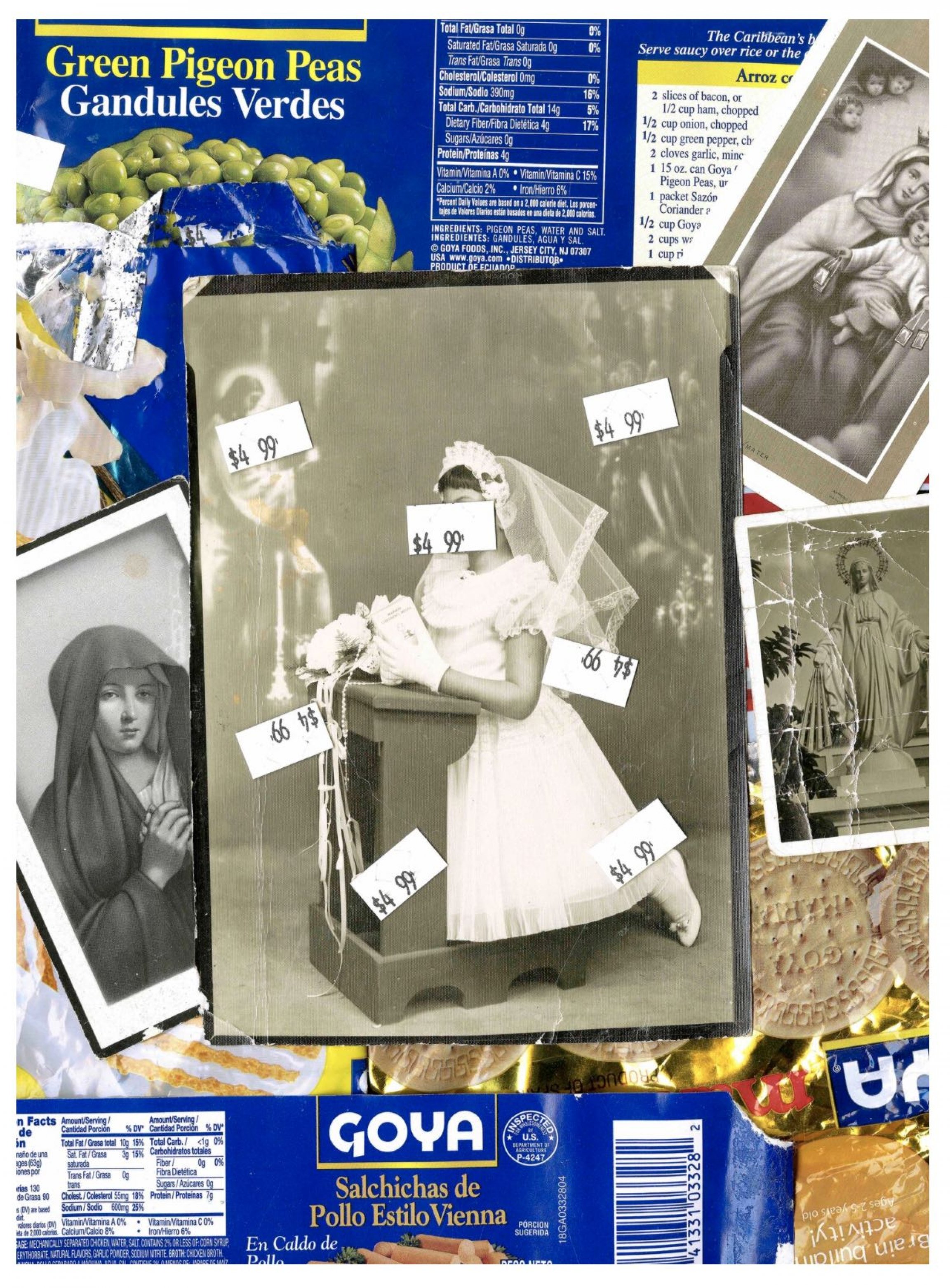Ysabel Turner printed a price-tagged photograph of her mother's first communion over Goya packaging .