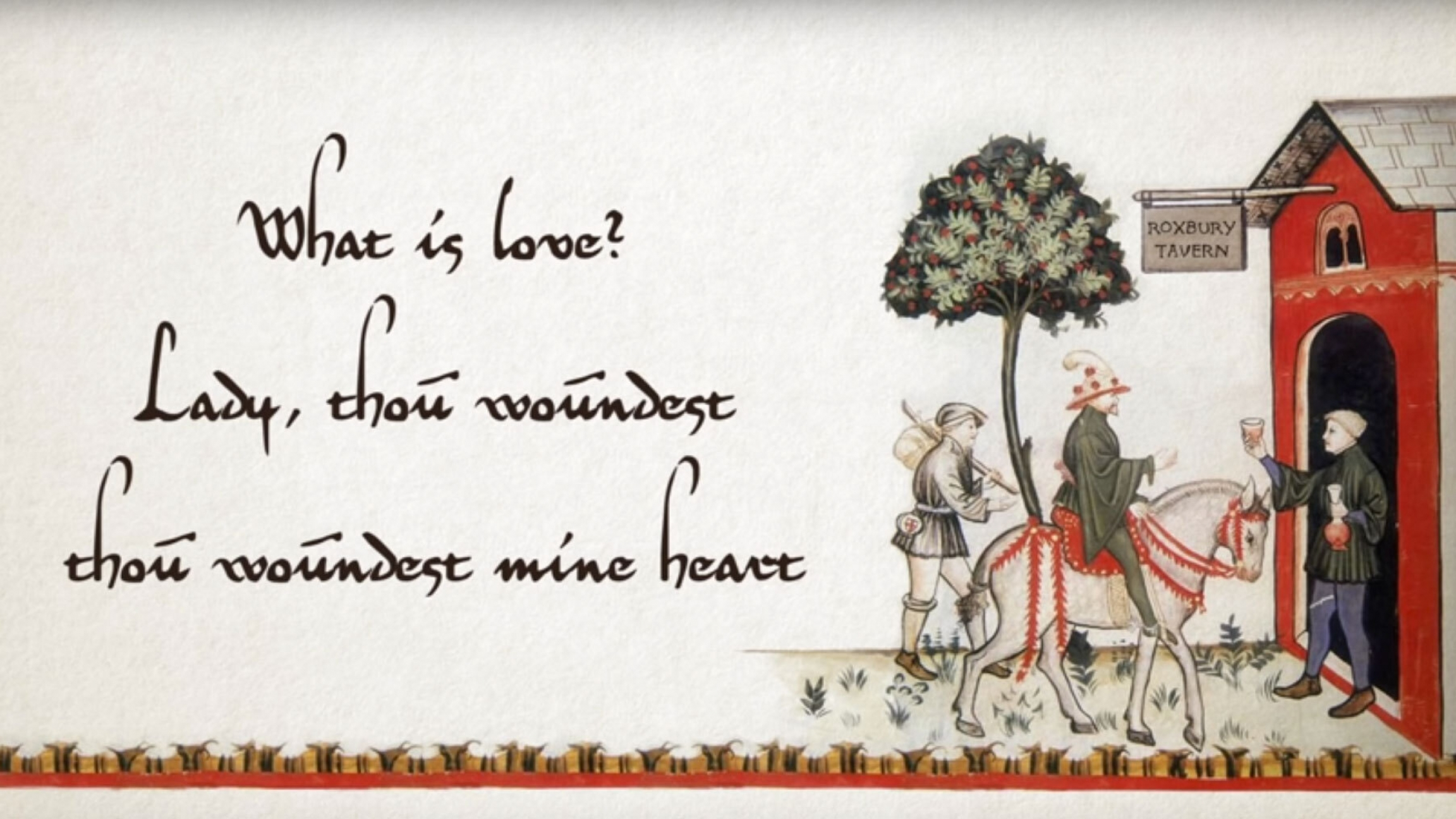 A group of people stand outside a red house near a white horse with fanciful lyrics