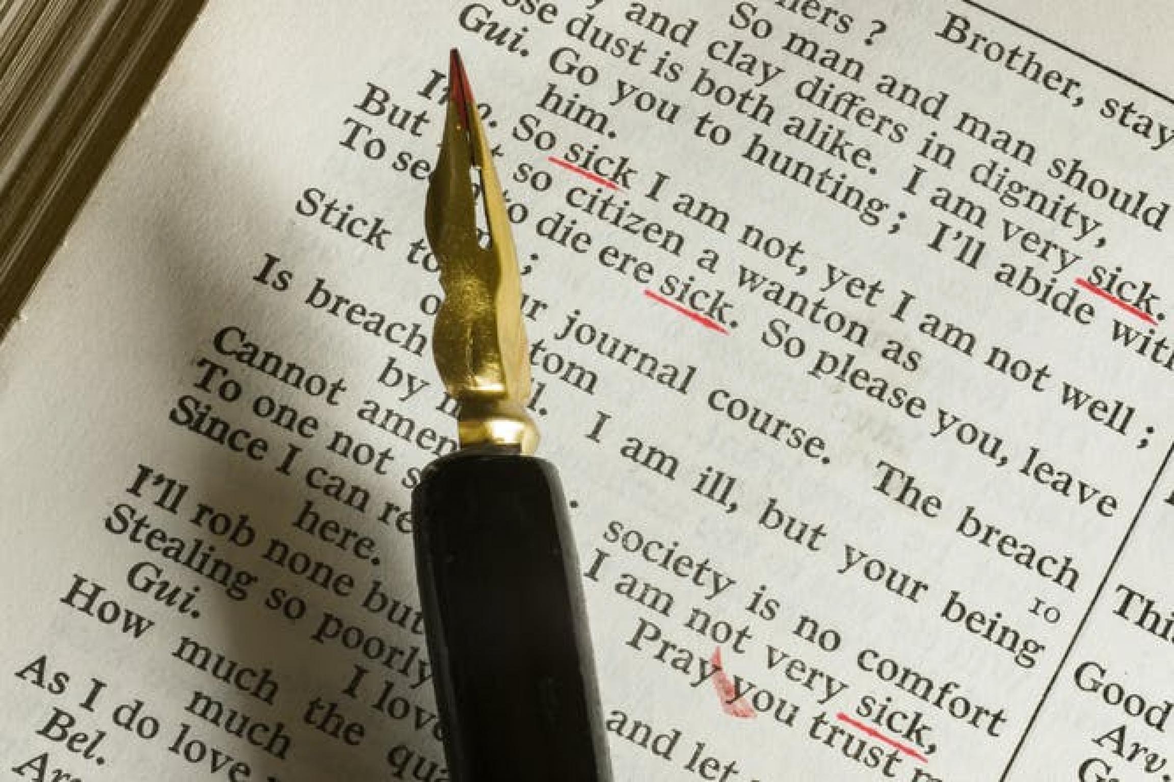 A fountain pen underlining key words in text.