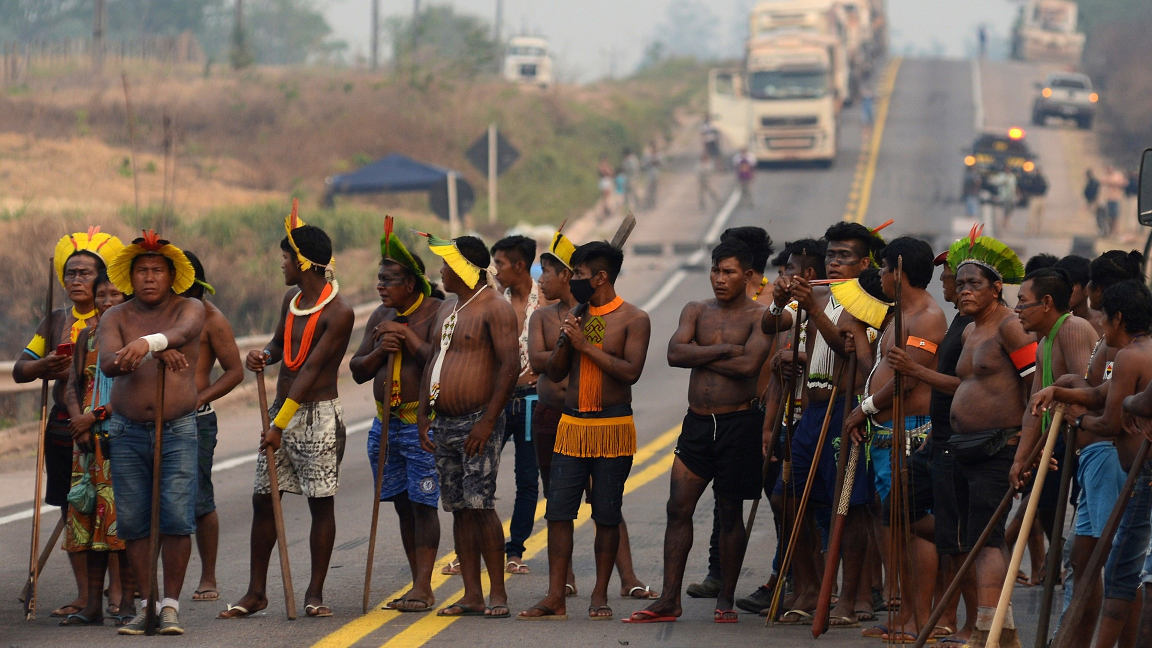 Kayapóindigenouspeople blockBrazil's BR 163 national highway, as they protest against the government measures in theindigenouslands to avoid the spread of the coronavirus disease (COVID-19), in Novo Progresso, Parástate,Brazil, Aug.17, 2020.