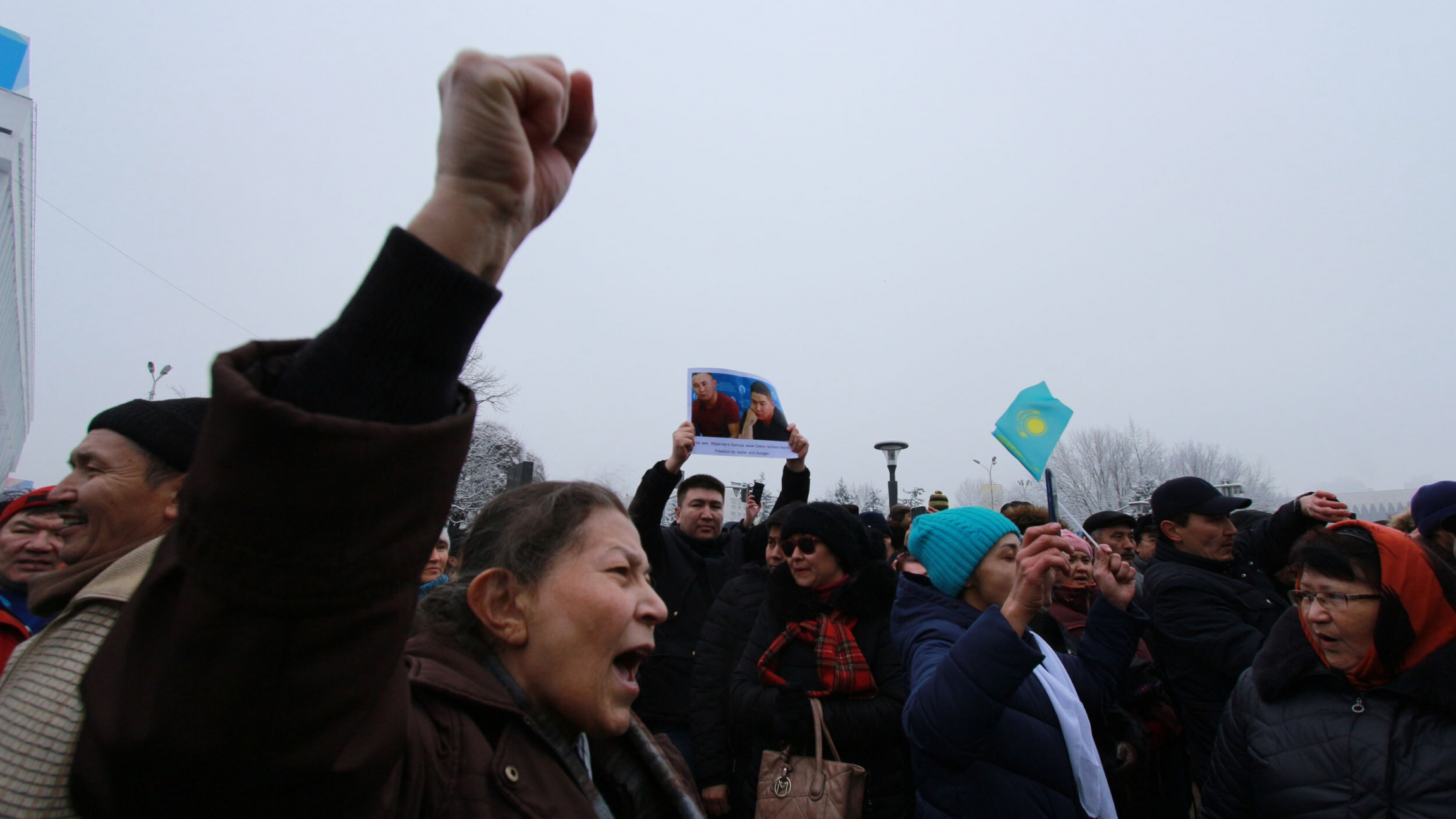 Kazakhs protest what they see as excessive expansion of Chinese influence in Kazakhstan, including new Silk Road investments, in Almaty, Kazakhstan, Dec. 2019.
