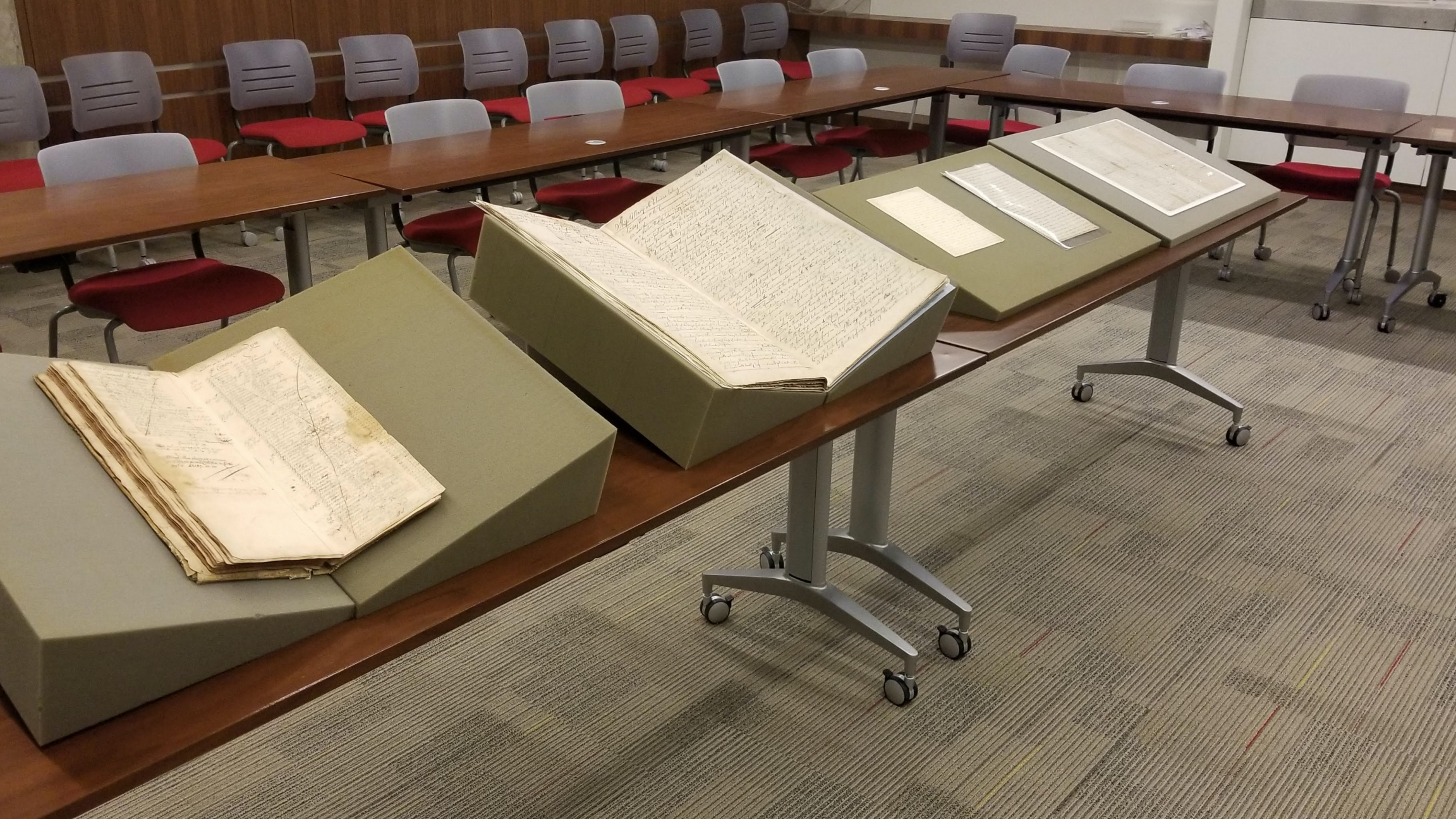 A 1795 logbook from the slave ship called the Mary is on display at Georgetown University Library.