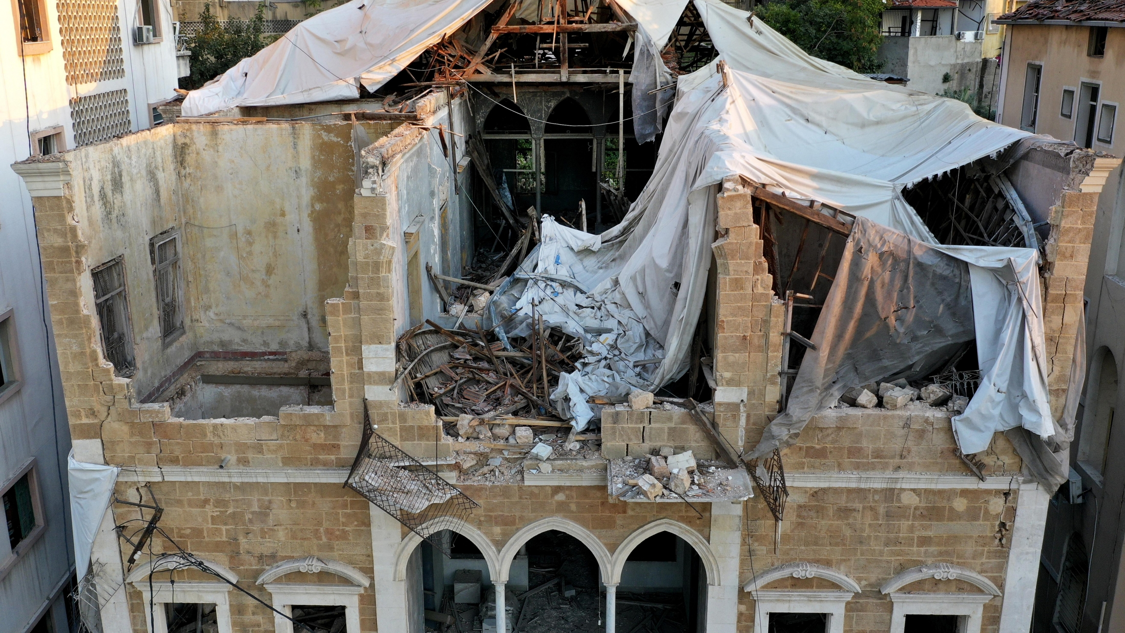 A heritage house that was destroyed by Aug. 4 explosion that hit the seaport of Beirut, Lebanon, Aug. 24, 2020.