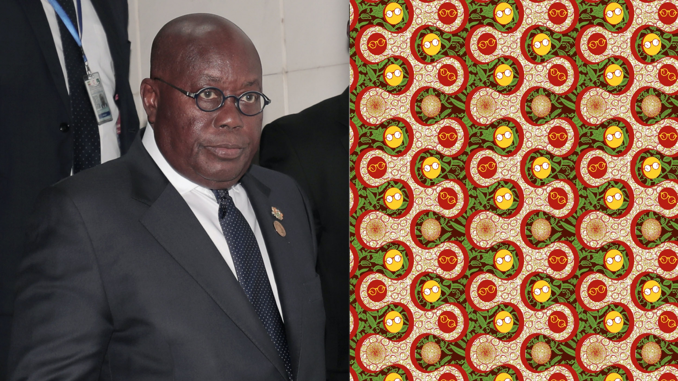 Another motif produced by Ghana Textiles Printing features eyeglasses, a nod to the frequent televised speeches of Ghana's President Nana Akufo-Addo, left, during the pandemic.