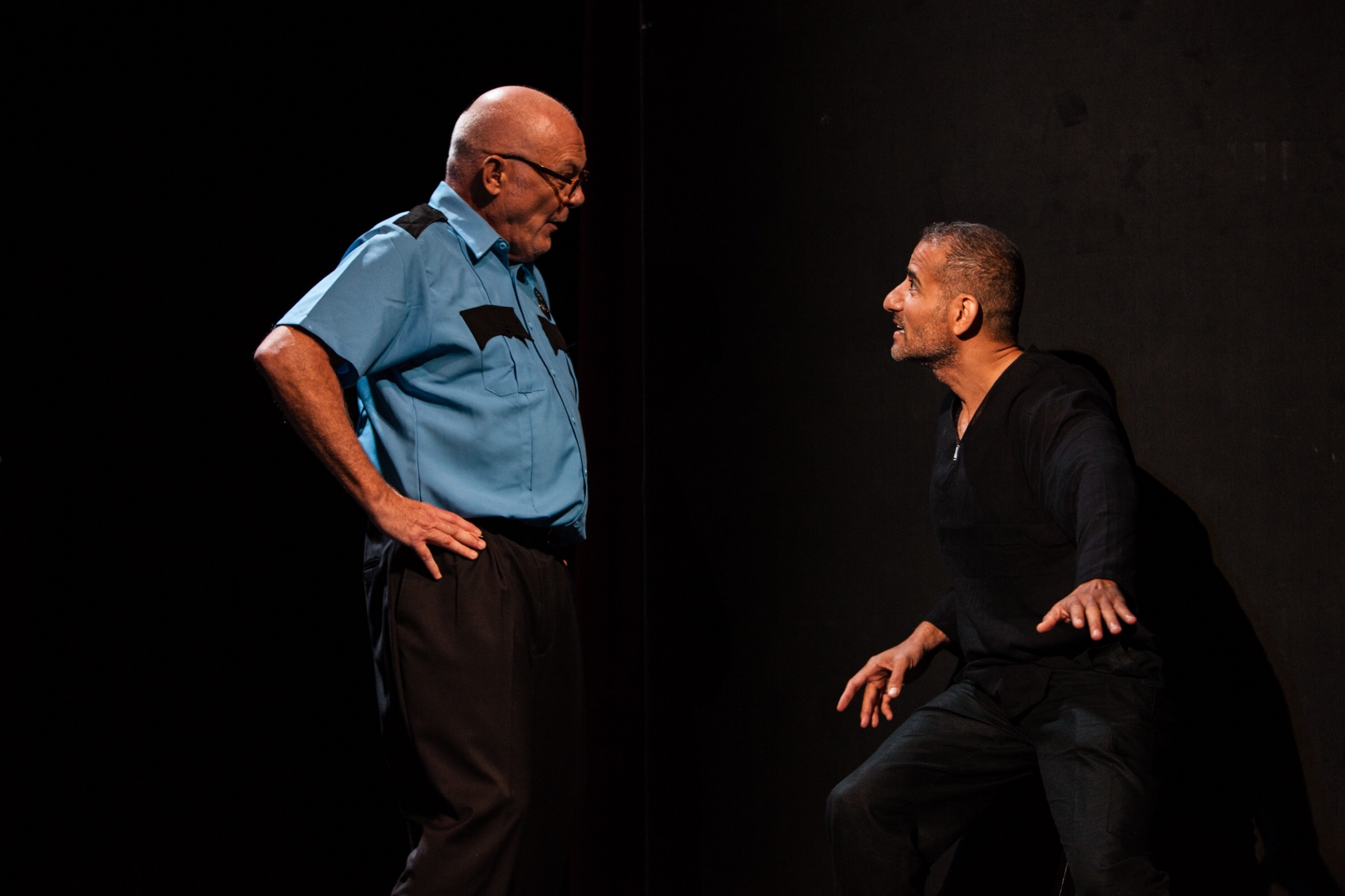 "Actors Paul Costello, left, and Nabil Awad perform in a play ""Counter Offence,"" that tackles police brutality and was staged at the Bay Area Drama Company. The theater's co-artistic director Basab Pradhan said the play was not well-attended."