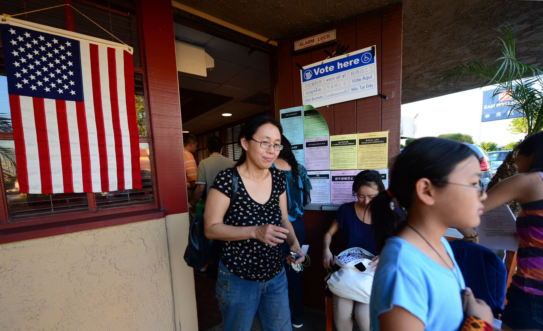 Asian American voters leave a Temple City, California, polling place in 2012, in the state's first legislative district that is majority Asian American.