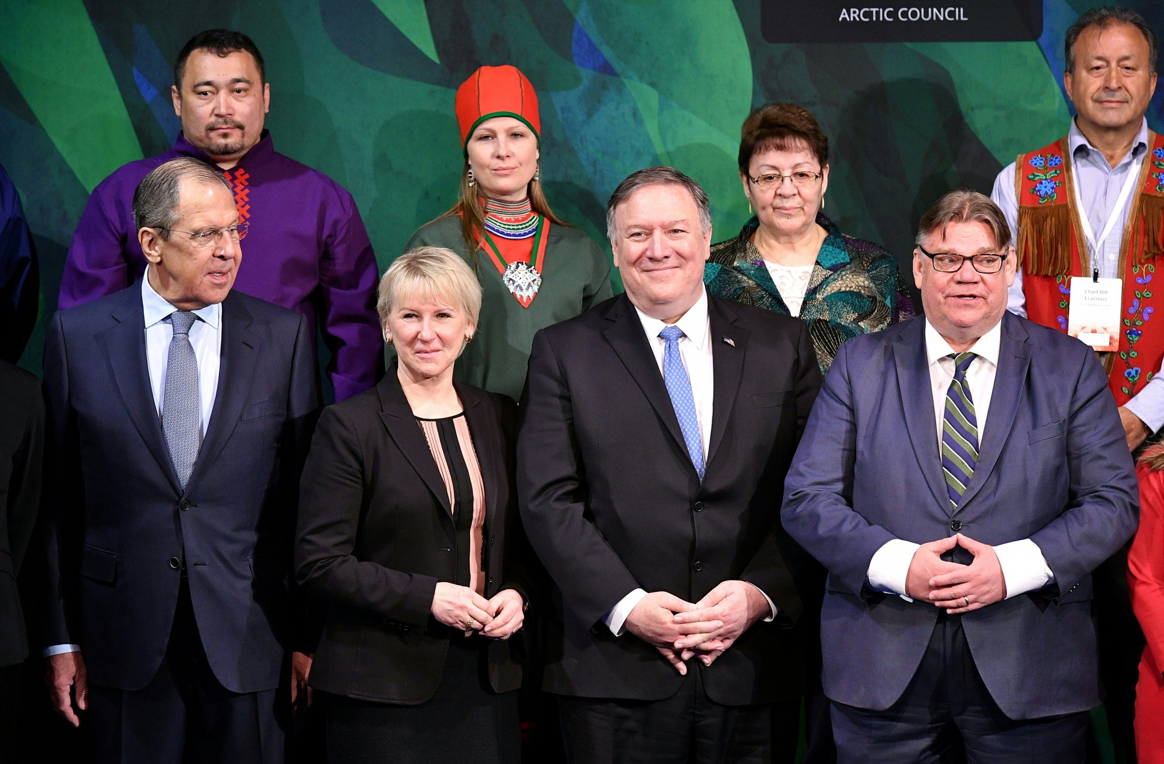 Front row from left, Foreign Ministers of Russia, Sergey Lavrov, Sweden, Margot Wallstrom, U.S. Secretary of State Mike Pompeo and Finland's Foreign Minister Timo Soini during the Arctic Council summit Rovaniemi, Rovaniemi, Finland May 7, 2019.