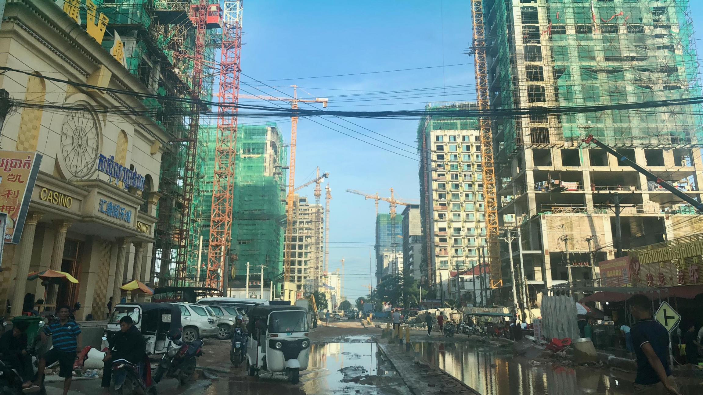 Sihanoukville, Cambodia, has become a construction site in recent years, with dozens of Chinese projects to build business and apartment high-rises, and with roads under construction around town.