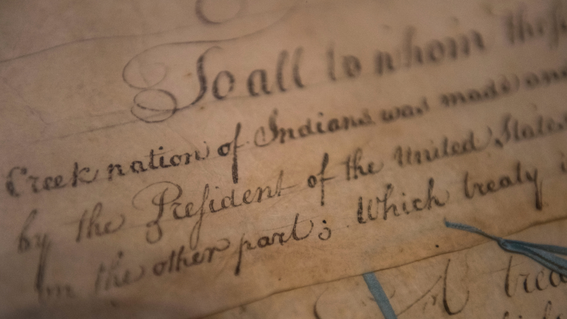 A 1790 Treaty of Muscogee (Creek) Nations and the US, written with elegant cursive script