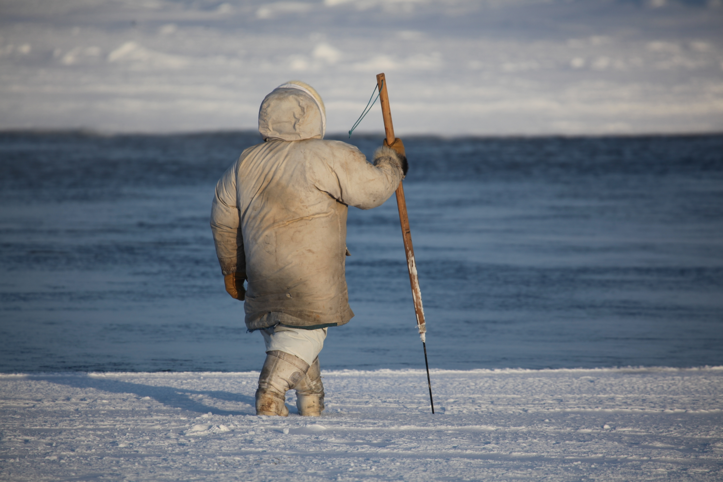 A hunter wearing a white jacket uses his harpoon to check the thickness of the ice for safety while crossing.