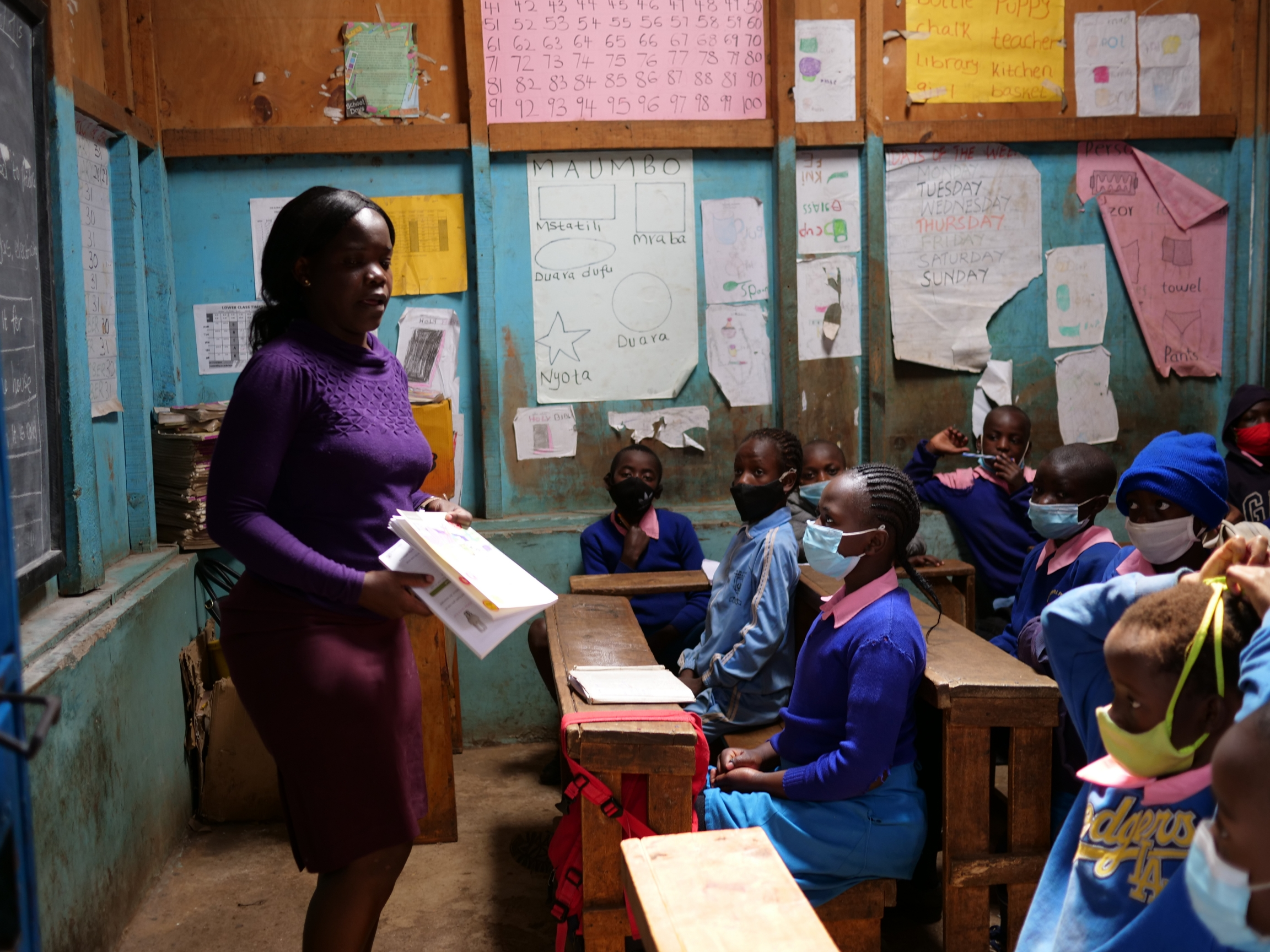 Primary school teacher Judith Odero teaches science to a grade four class at the Global One School in Nairobi, Kenya.