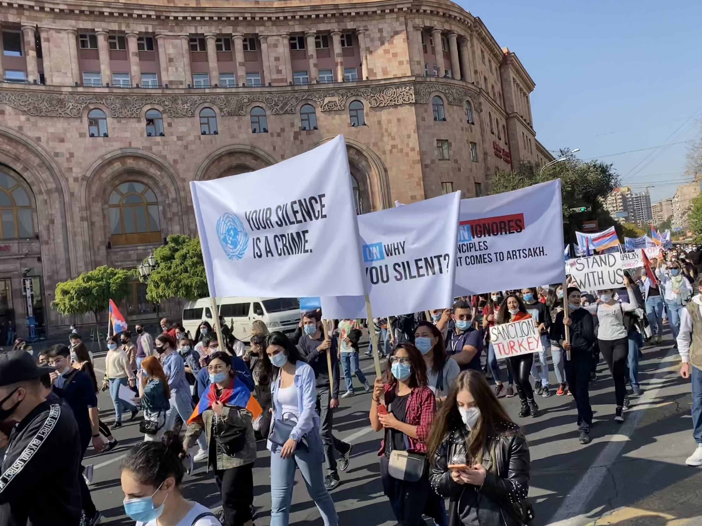 Armenians rally in capital Yerevan demanding action from the international community.