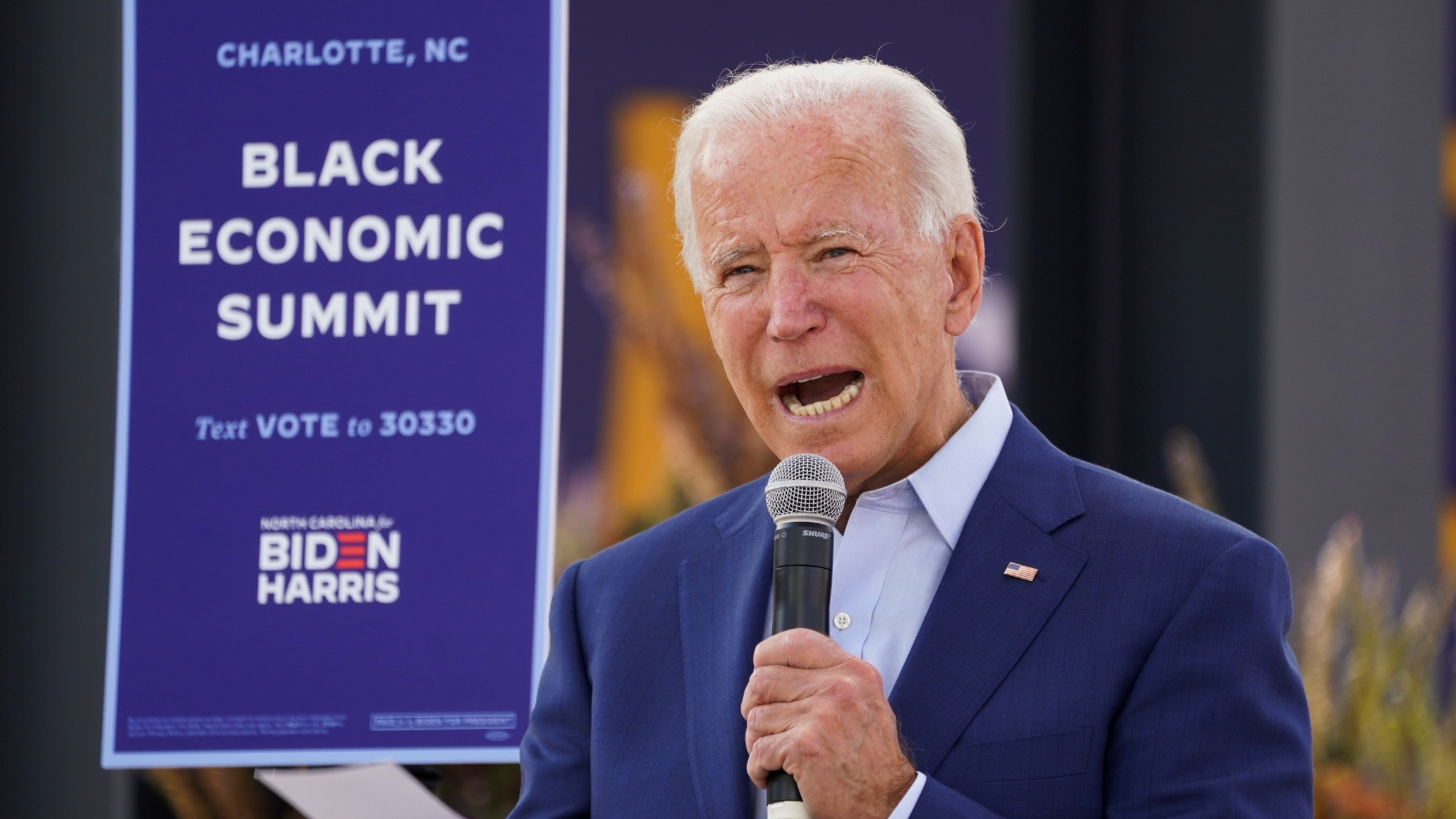"Democratic US presidential nominee Joe Biden speaks at an outdoor ""Black Economic Summit"" while campaigning for president in Charlotte, North Carolina, Sept. 23, 2020."