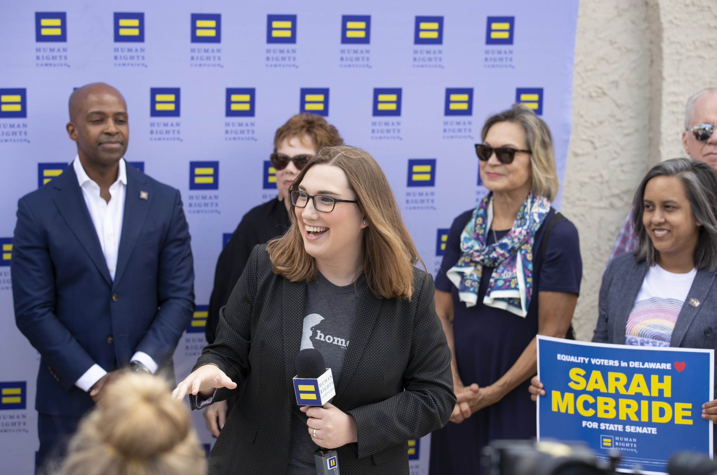 Sarah McBride, then a candidate for Delaware state senate, speaks during an event that announced her endorsement by the Human Rights Campaign in Wilmington, Delaware, Aug. 25, 2019.