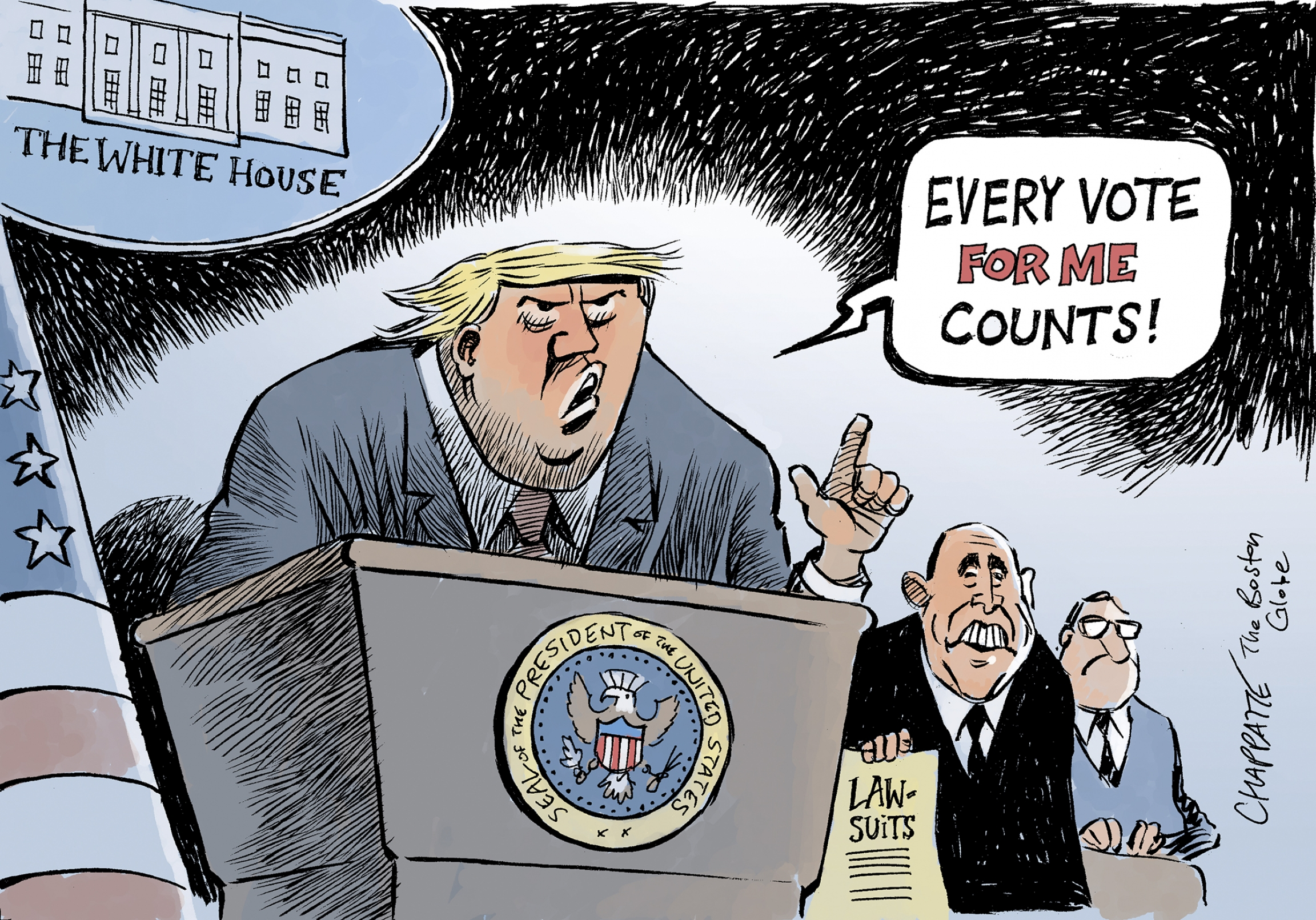 """Trump gets desperate,"" by Patrick Chappatte, Switzerland via caglecartoons.com"