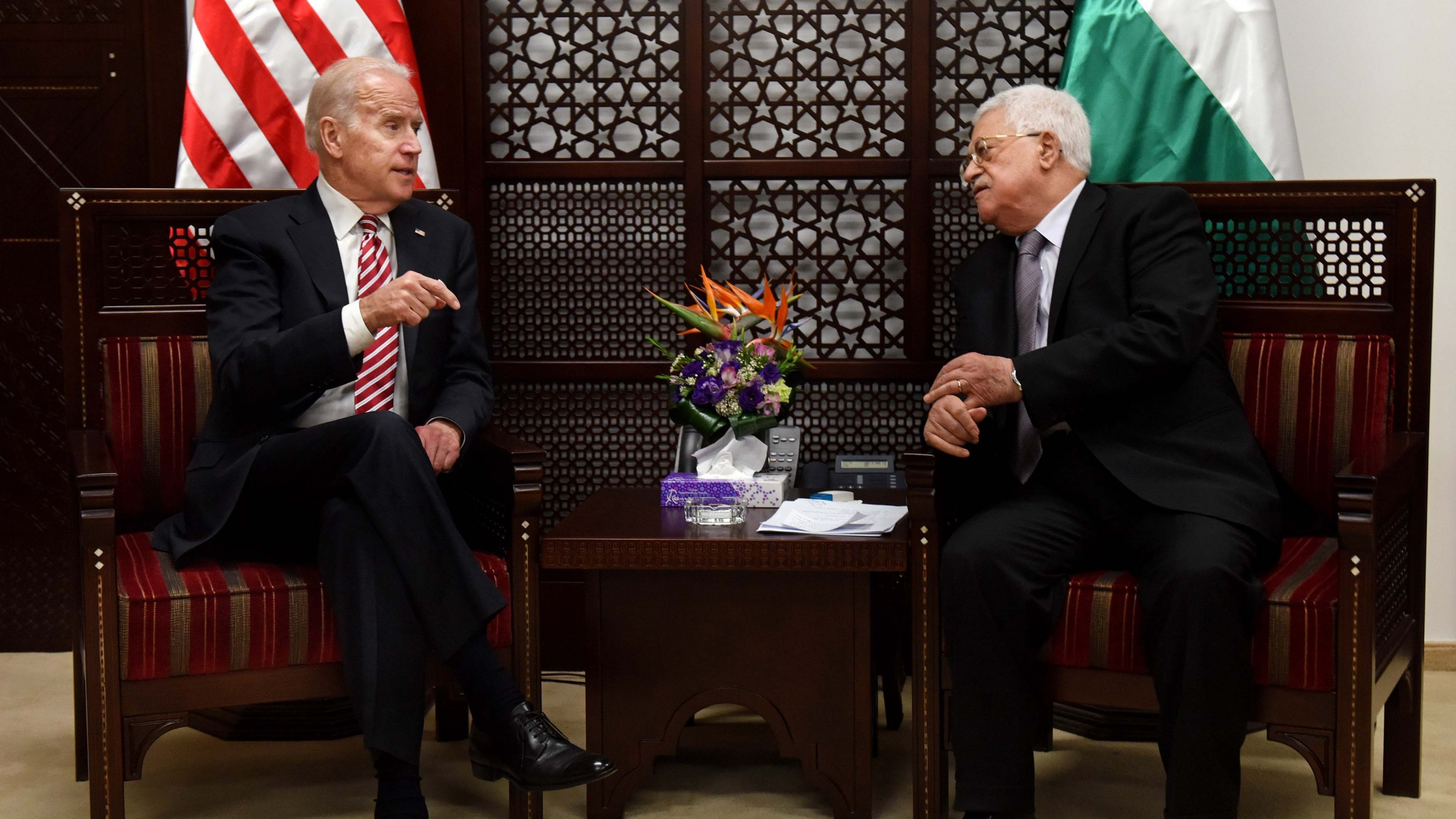 US President-elect Joe Biden, left, who was then US Vice President, and Palestinian President Mahmoud Abbas, meet at the presidential compound in Ramallah, West Bank, March 9, 2016.