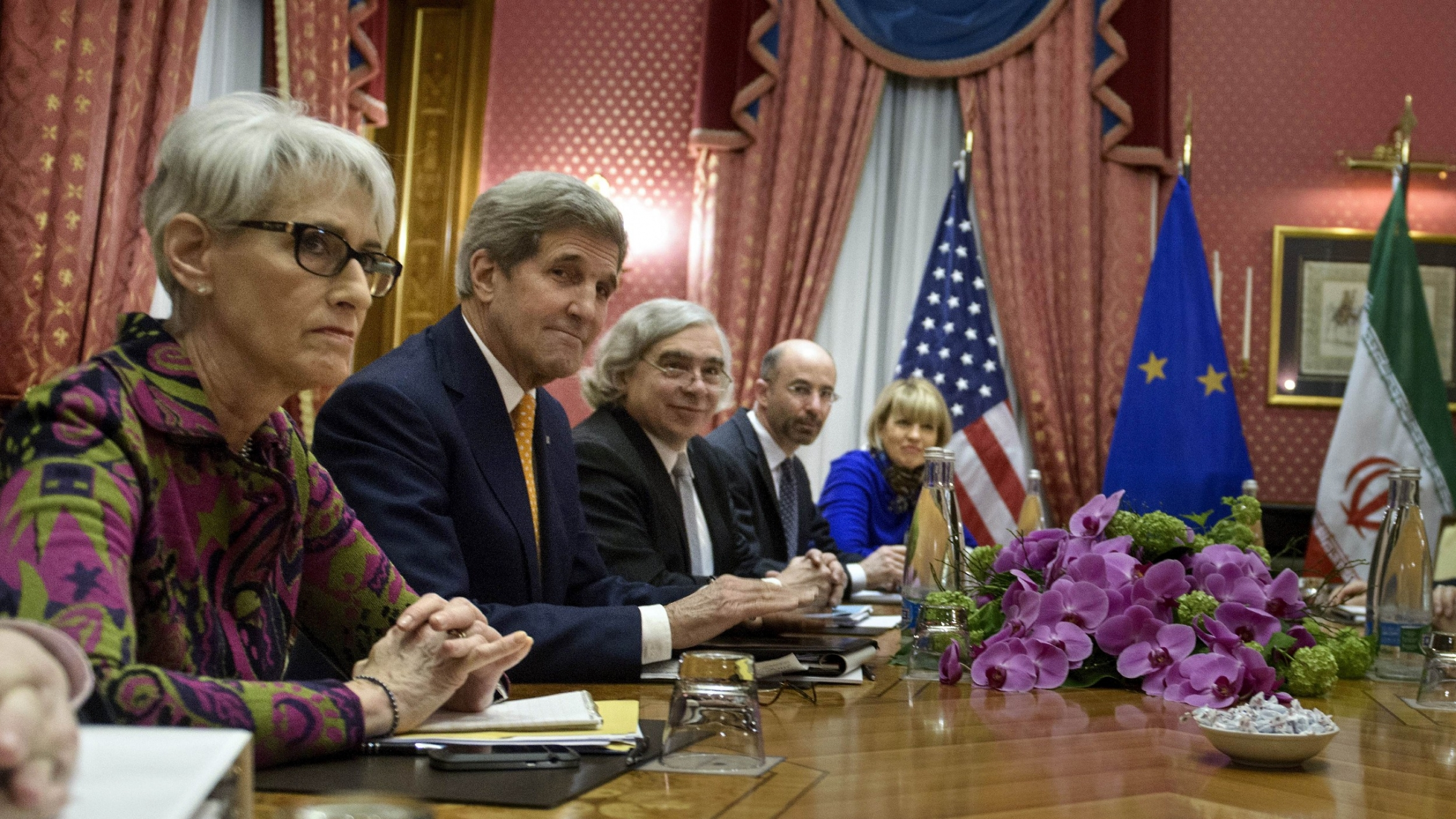 Former US Under Secretary for Political AffairsWendySherman, US Secretary of State John Kerry, US Secretary of Energy Ernest Moniz, National Security Council point person on the Middle East Robert Malley and European Union Political Director Helga Schmi